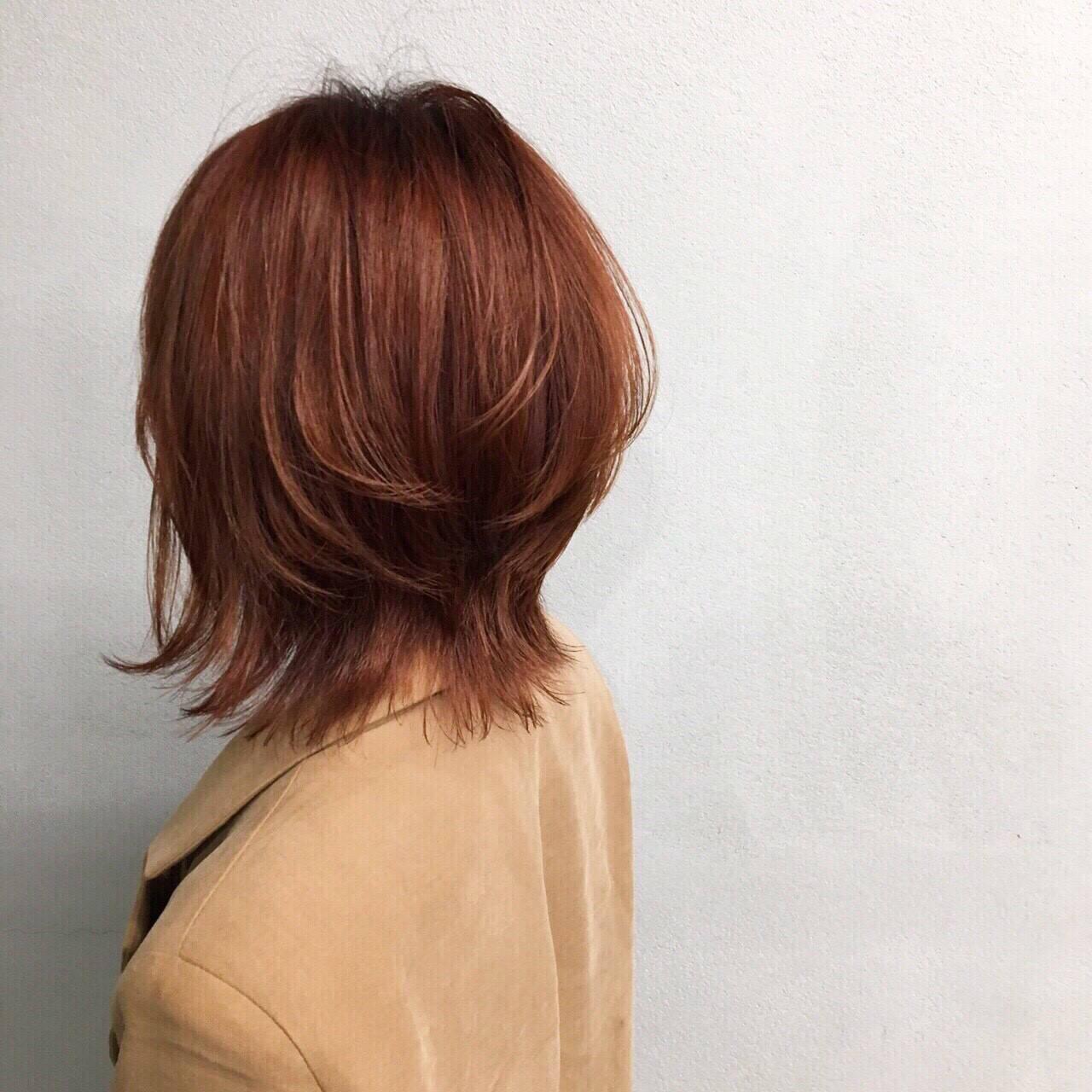 マッシュ ナチュラル オレンジベージュ ウルフカットヘアスタイルや髪型の写真・画像