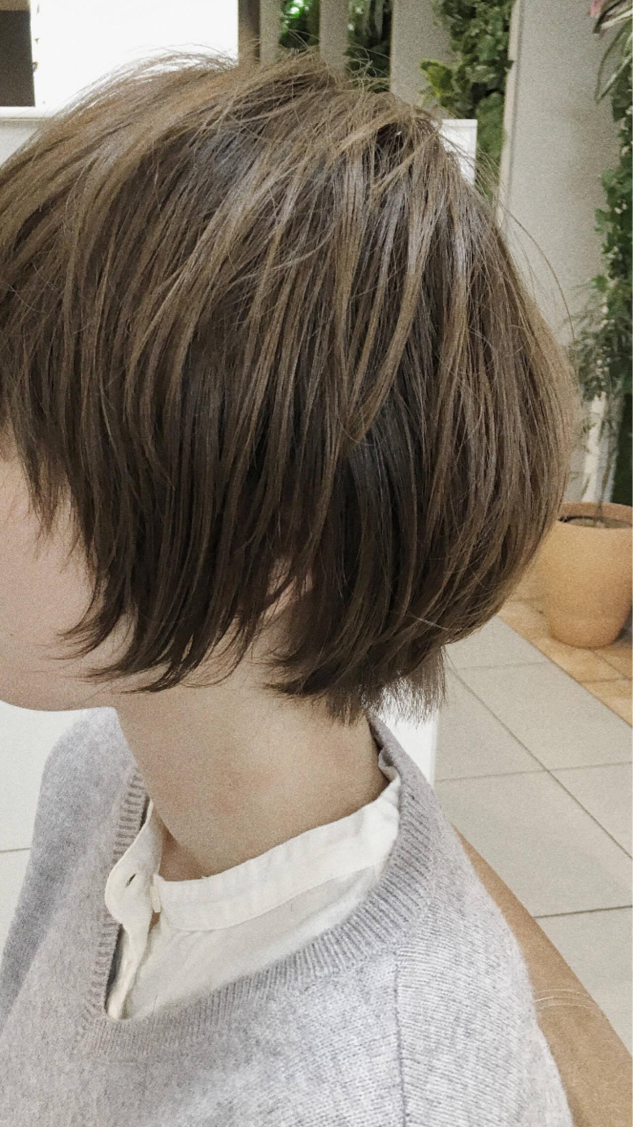 ショートボブ こなれ感 ニュアンス ナチュラルヘアスタイルや髪型の写真・画像