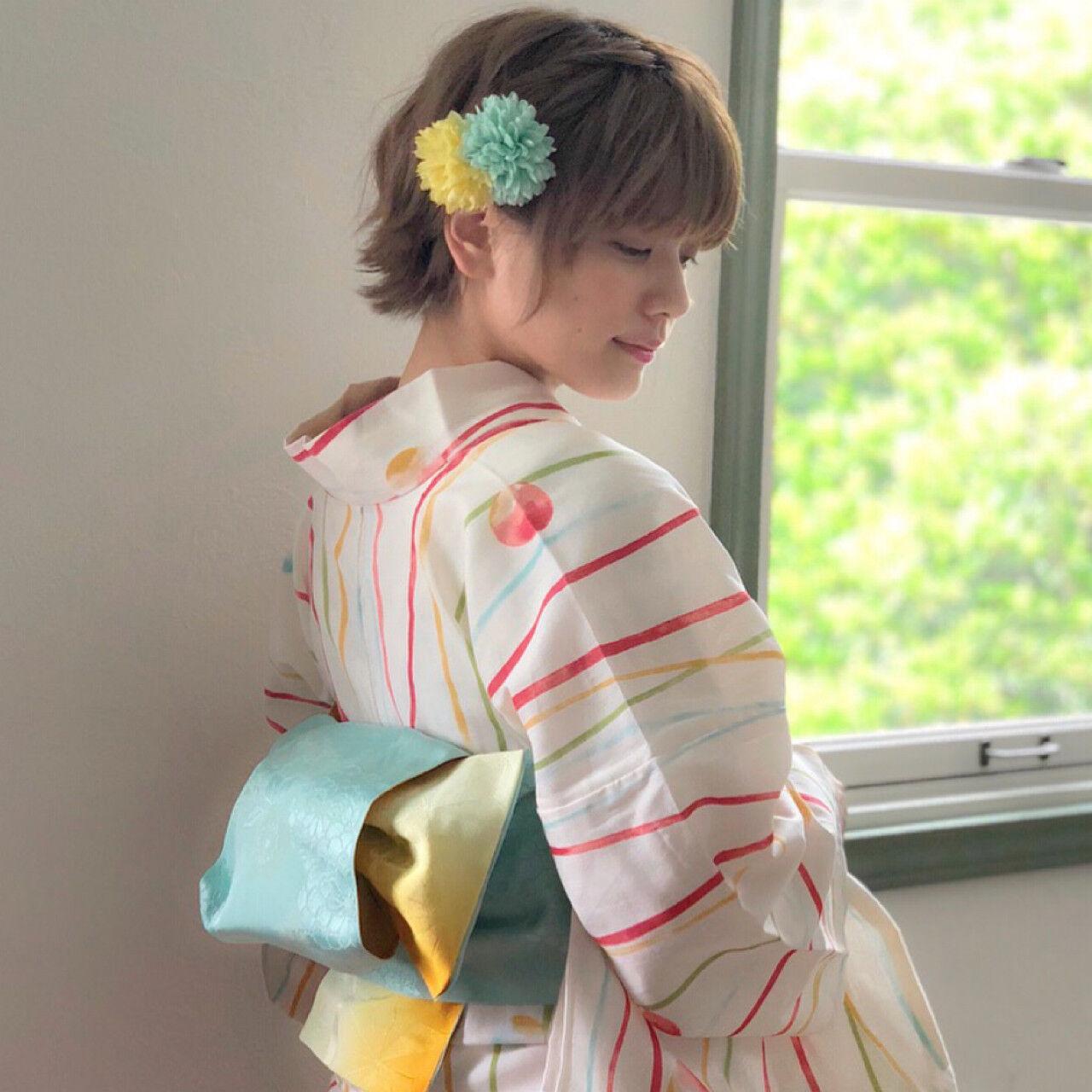 夏 花火大会 色気 ショートヘアスタイルや髪型の写真・画像