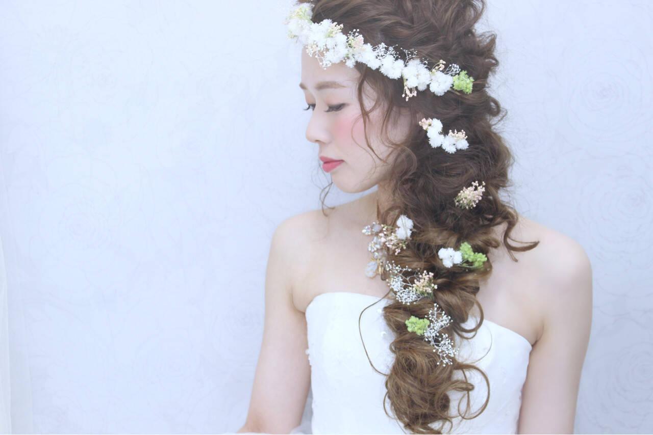 結婚式 花嫁 ハーフアップ ロングヘアスタイルや髪型の写真・画像