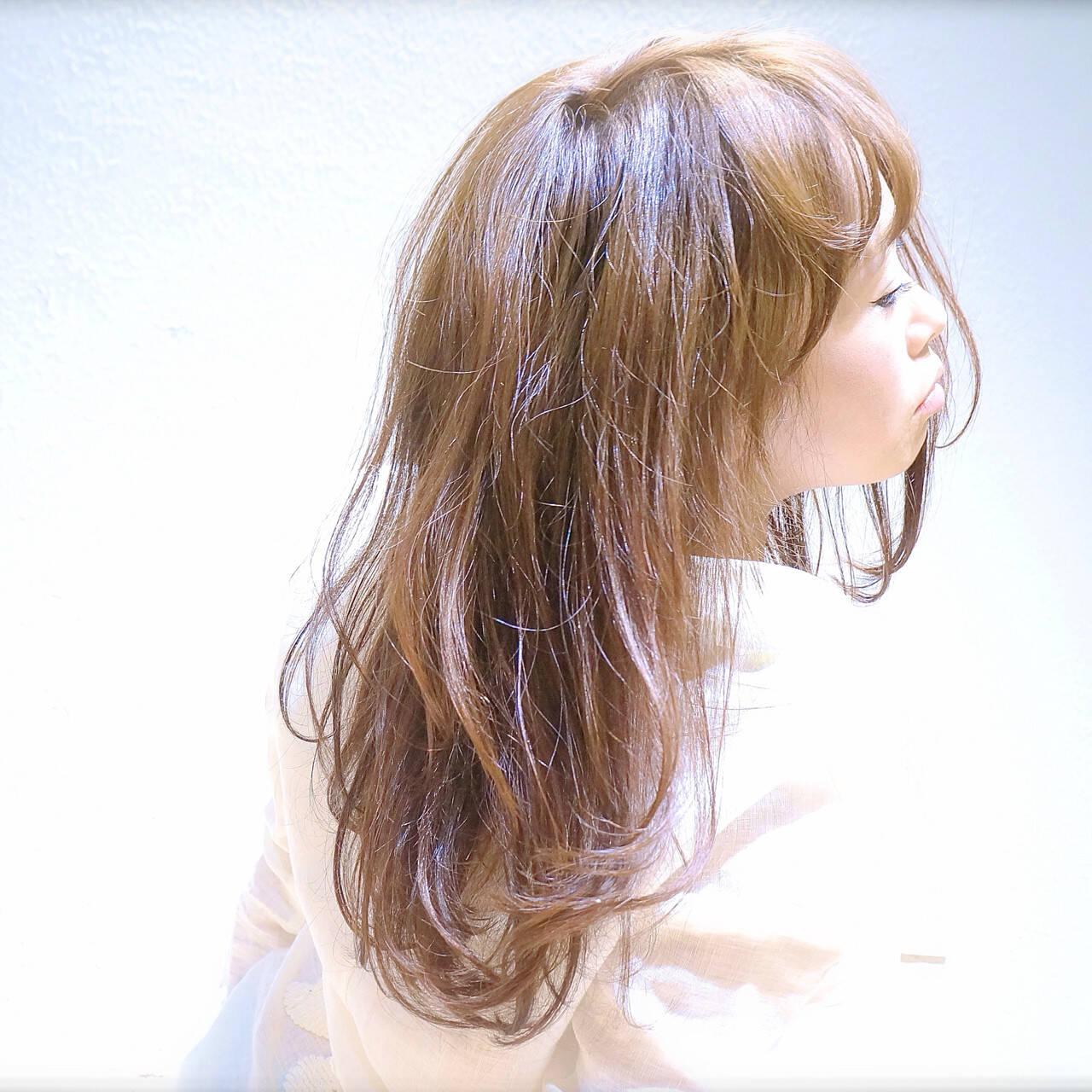 簡単ヘアアレンジ ストレート セミロング 丸顔ヘアスタイルや髪型の写真・画像