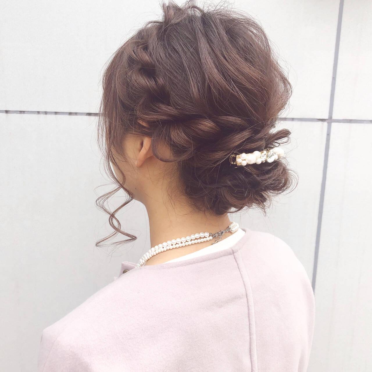 セミロング デート 結婚式 ヘアアレンジヘアスタイルや髪型の写真・画像