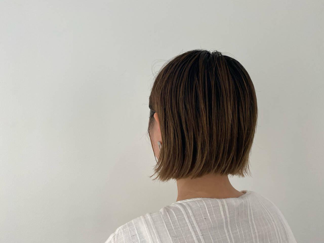 切りっぱなしボブ ミニボブ ショートヘア ショートボブヘアスタイルや髪型の写真・画像