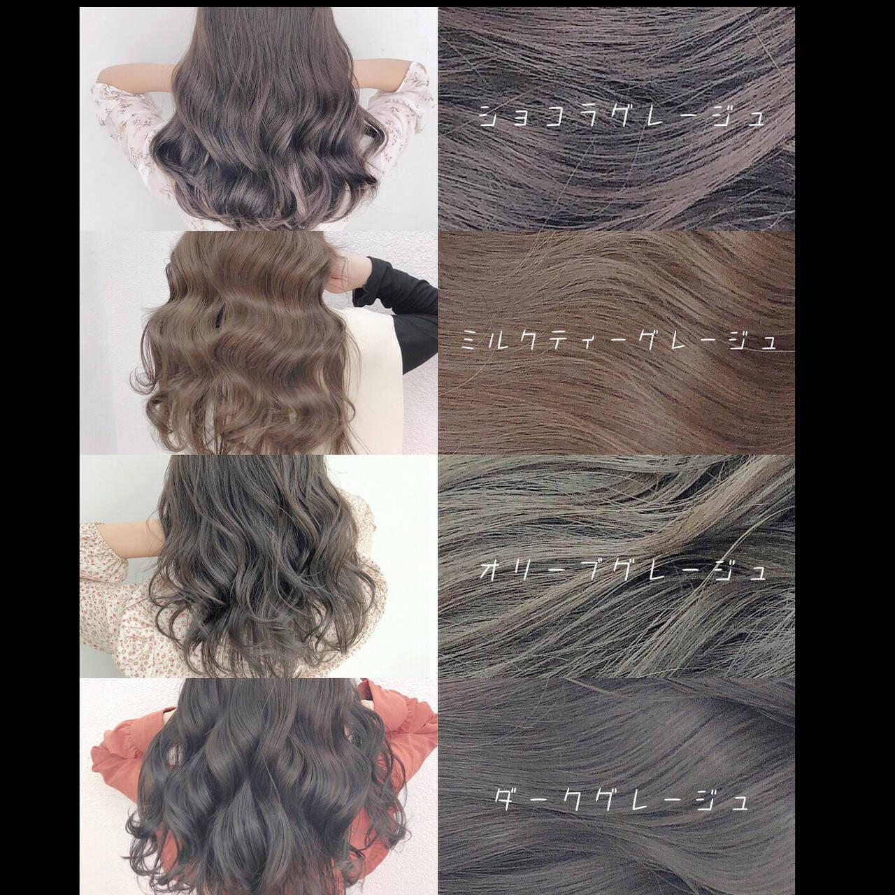 グレージュ ブリーチなし ナチュラル 透明感カラーヘアスタイルや髪型の写真・画像