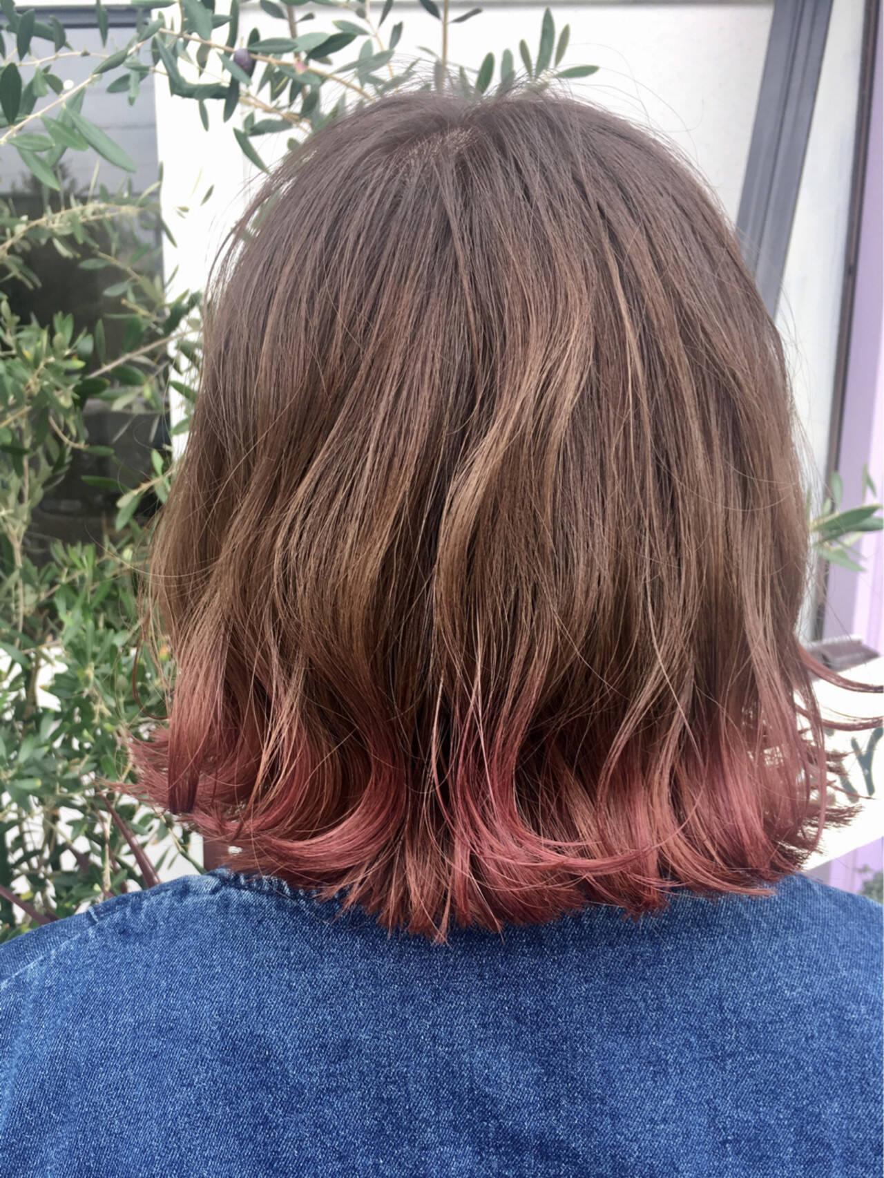 フェミニン グラデーションカラー ボブヘアスタイルや髪型の写真・画像