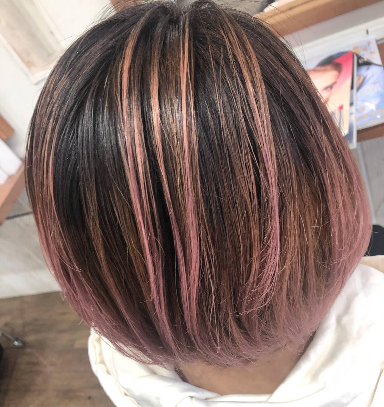 モード グラデーション バレイヤージュ ブリーチカラーヘアスタイルや髪型の写真・画像