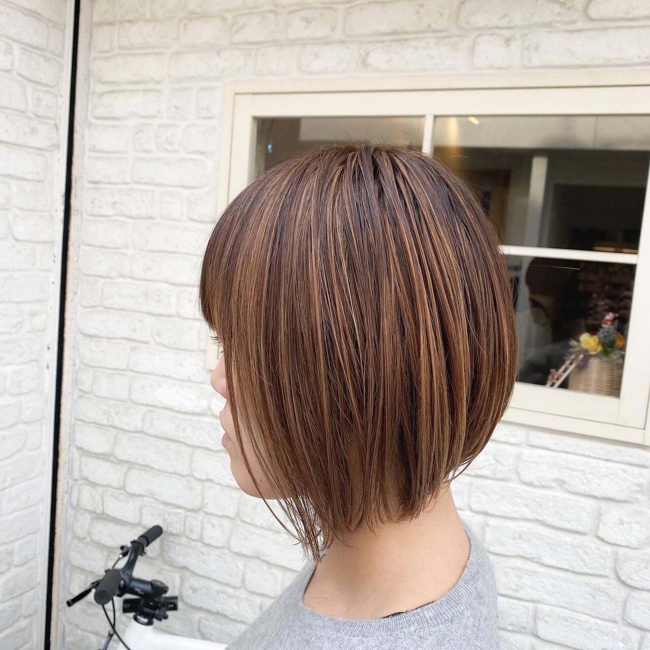 コントラストハイライト ナチュラル 大人ハイライト 極細ハイライトヘアスタイルや髪型の写真・画像