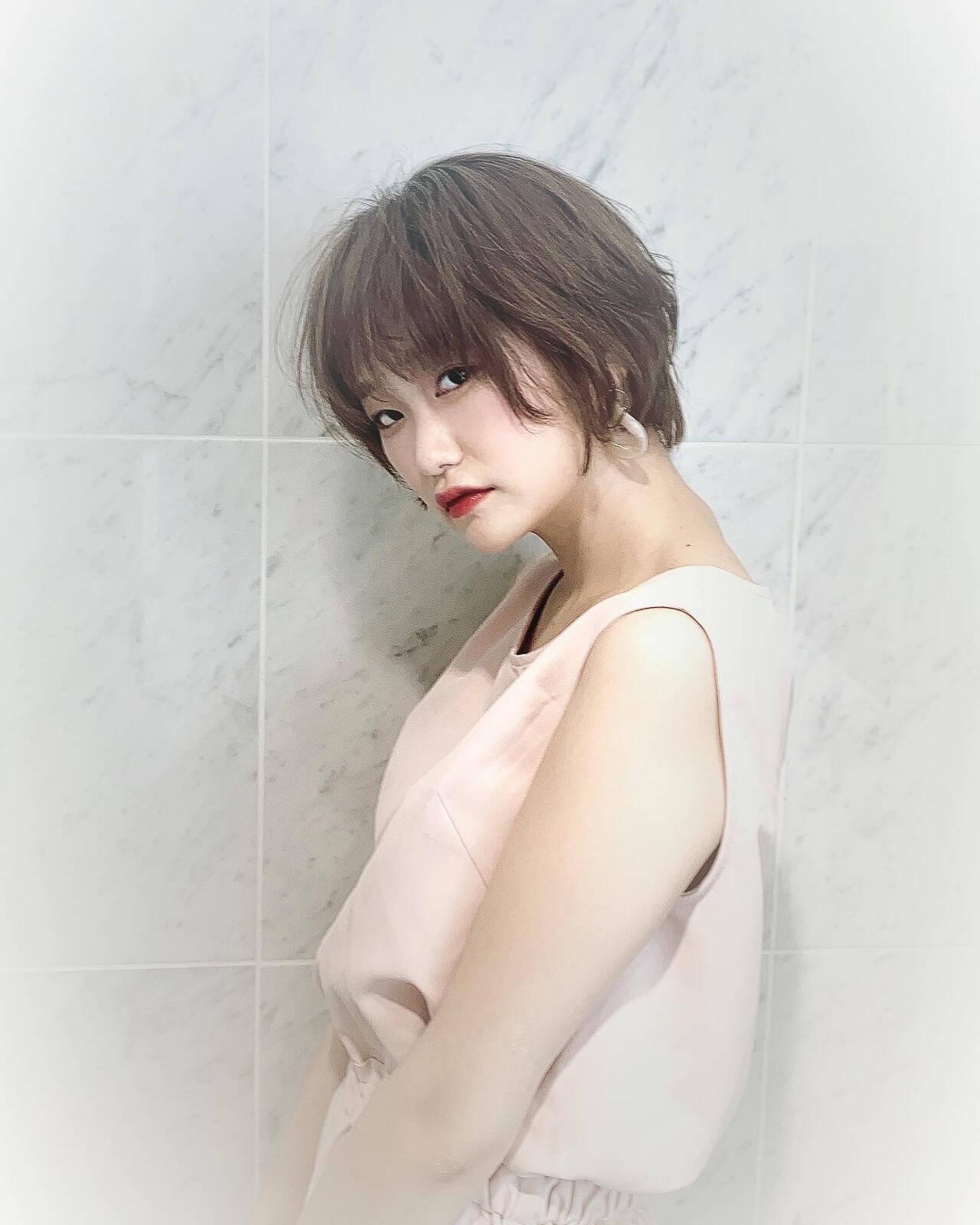 オーガニックカラー ショートボブ ショート ナチュラルヘアスタイルや髪型の写真・画像