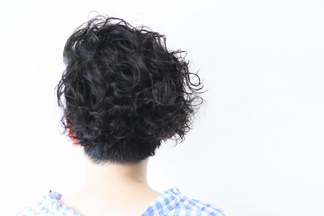 パーマ ボブ 無造作パーマ メンズパーマヘアスタイルや髪型の写真・画像