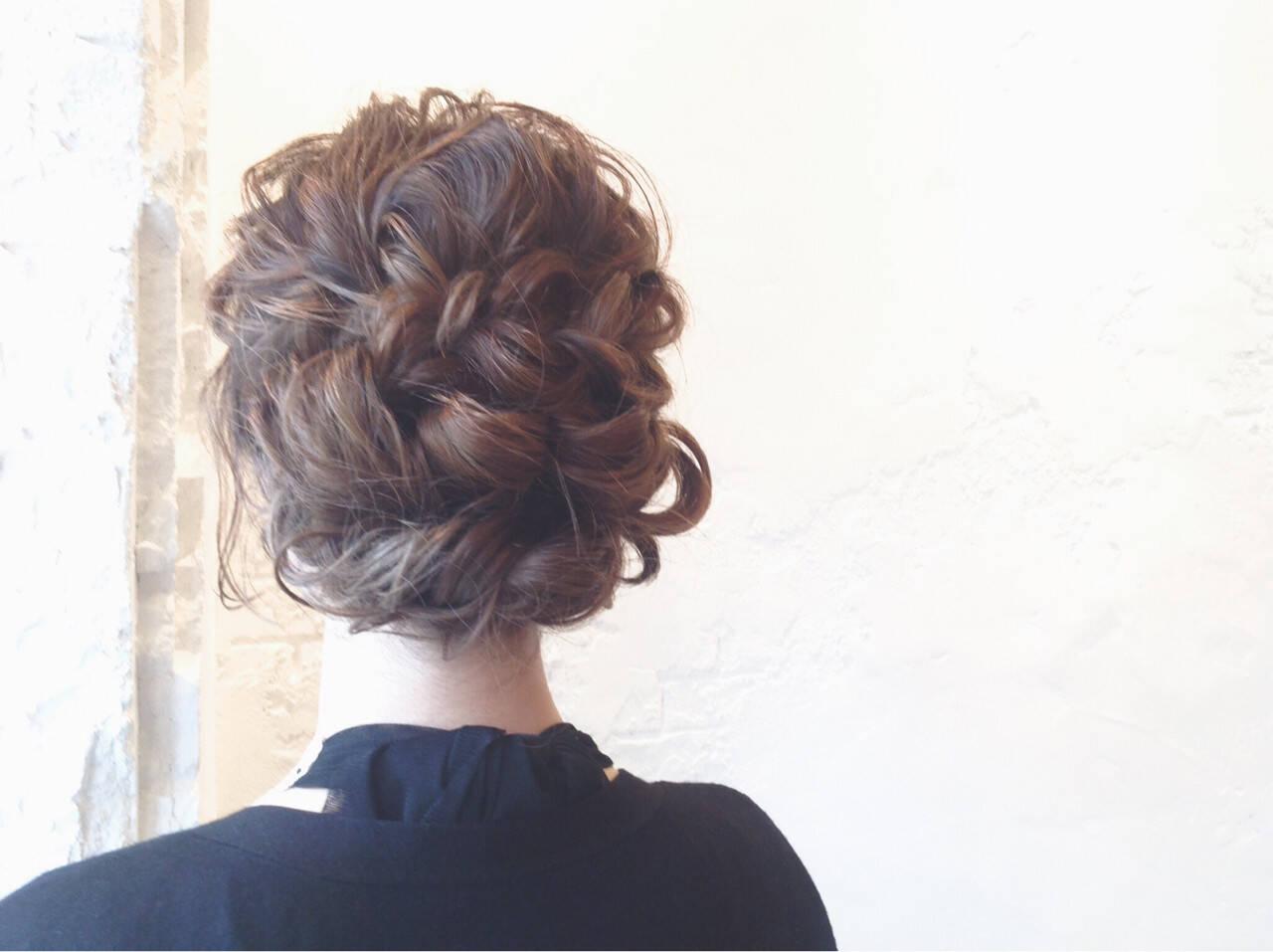 結婚式 ガーリー セミロング ヘアアレンジヘアスタイルや髪型の写真・画像