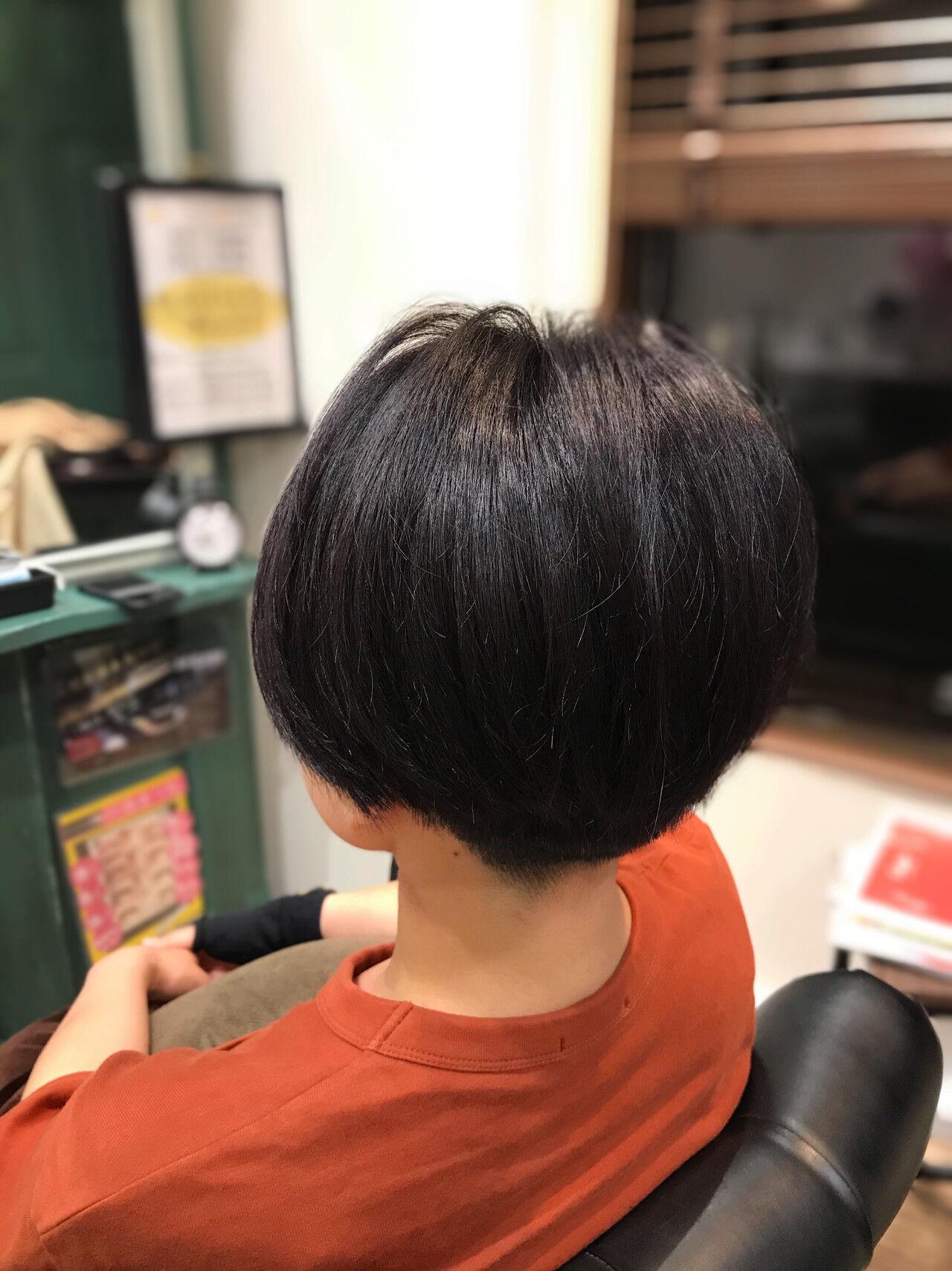 ショート ダークアッシュ モード ハンサムショートヘアスタイルや髪型の写真・画像