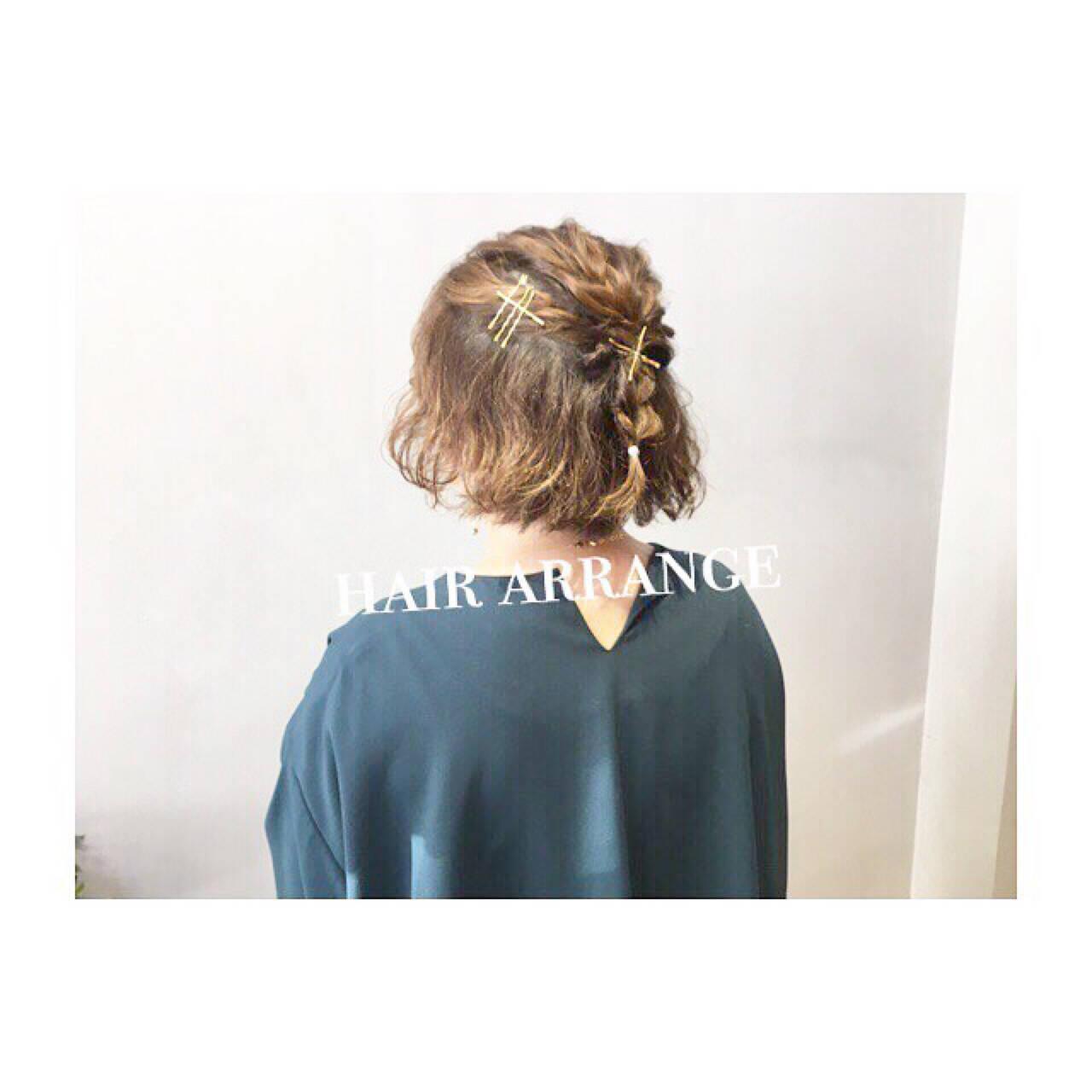 デート ボブ ゆるふわ ウェーブヘアスタイルや髪型の写真・画像
