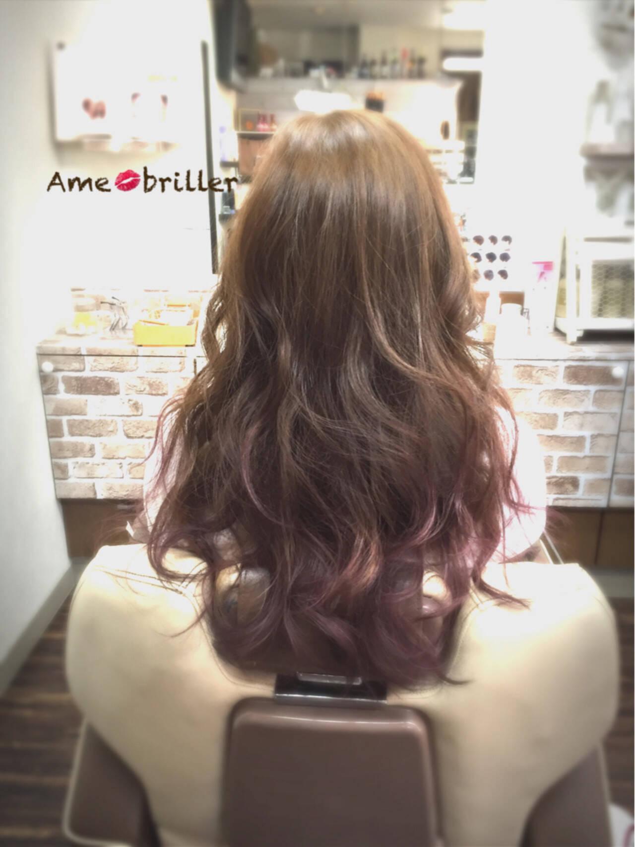 アッシュ ロング グラデーションカラー ハイライトヘアスタイルや髪型の写真・画像