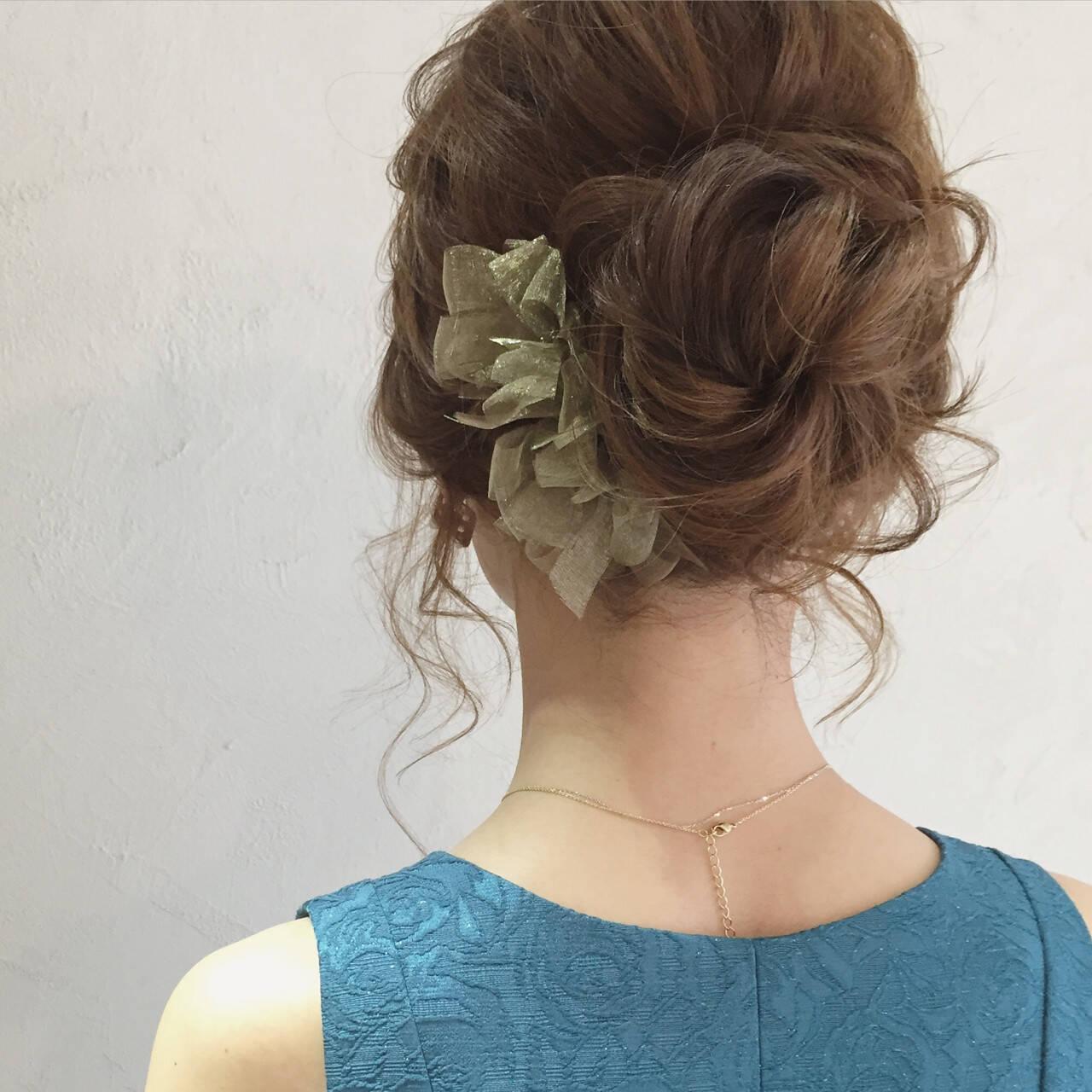 アッシュ セミロング ヘアアレンジ アップスタイルヘアスタイルや髪型の写真・画像