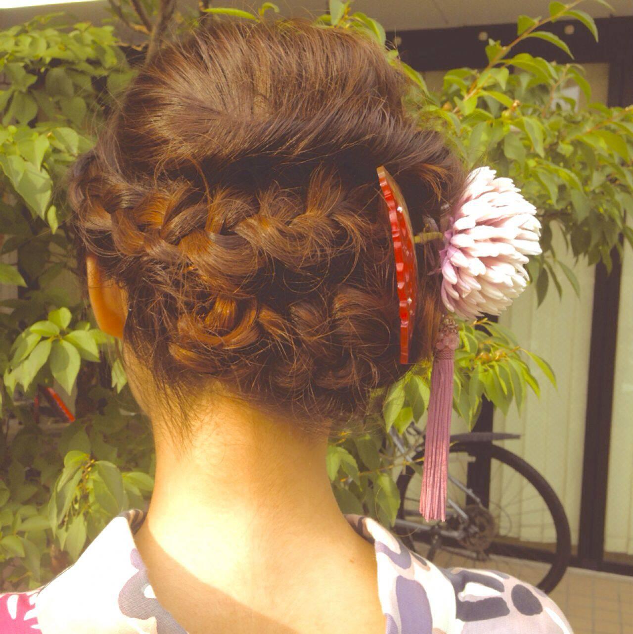 花火大会 編み込み 和装 夏ヘアスタイルや髪型の写真・画像