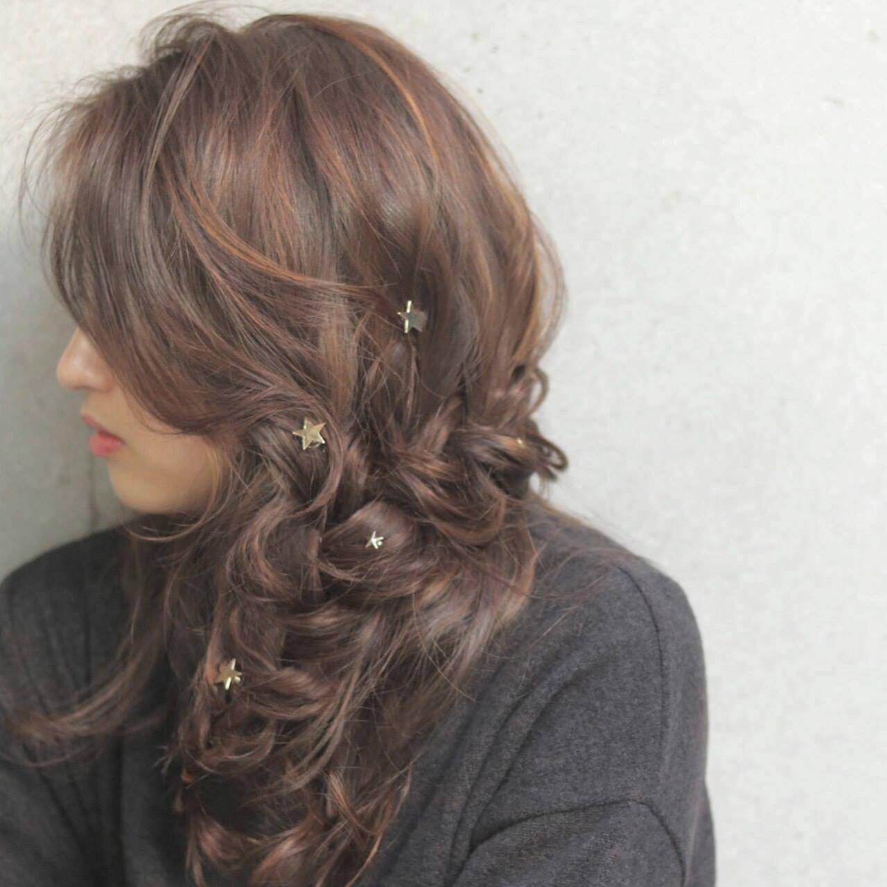 大人女子 ゆるふわ 小顔 ヘアアレンジヘアスタイルや髪型の写真・画像