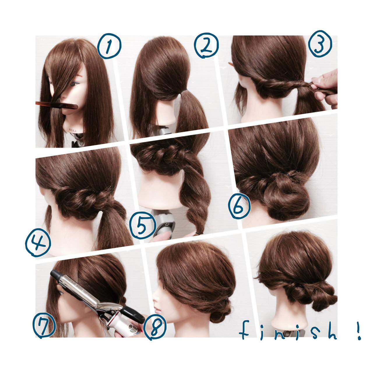 ギブソンタック ロープ編み ヘアアレンジ 簡単ヘアアレンジヘアスタイルや髪型の写真・画像