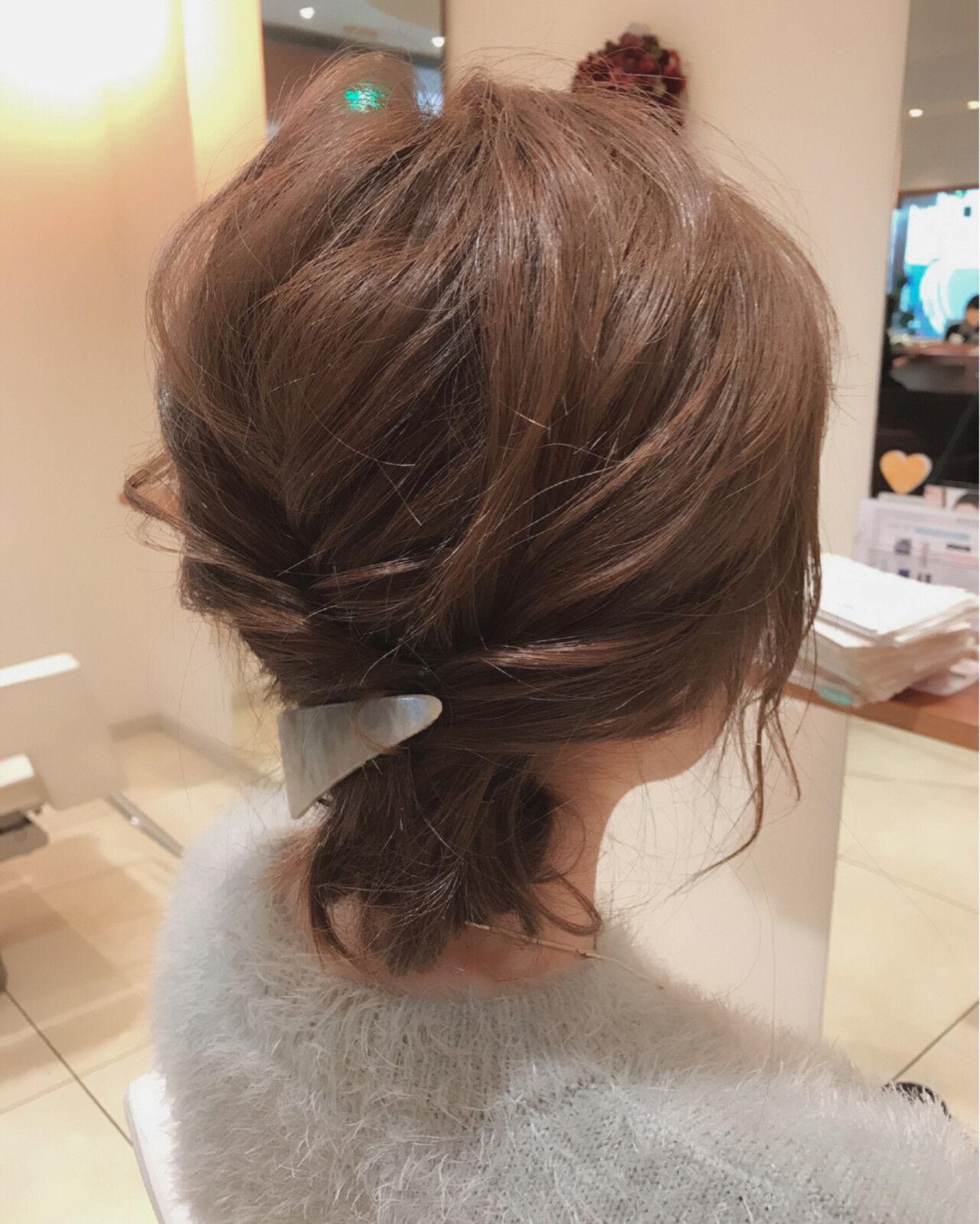 ショート ヘアアレンジ 大人女子 ゆるふわヘアスタイルや髪型の写真・画像