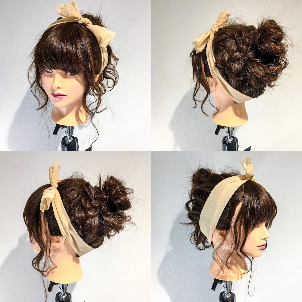 簡単 ガーリー ヘアアレンジ ショートヘアスタイルや髪型の写真・画像