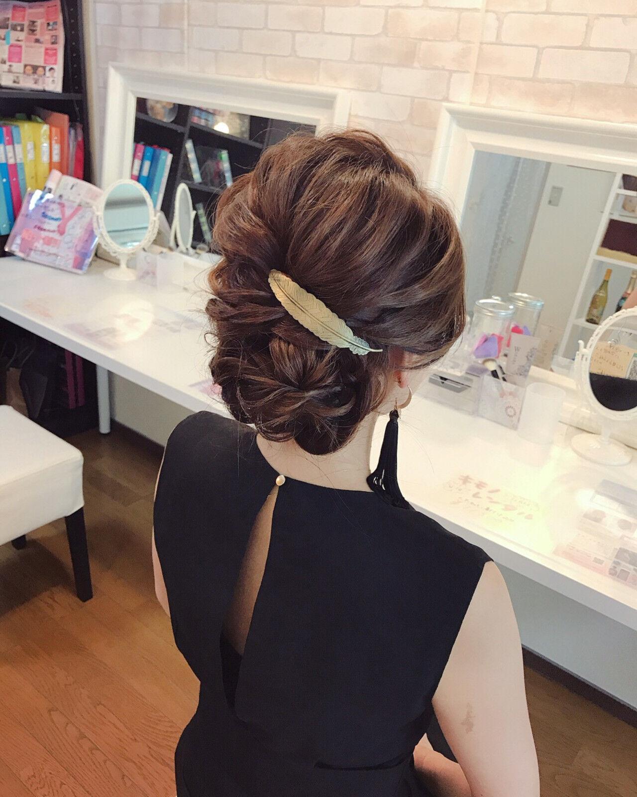 エレガント パーティ デート 結婚式ヘアスタイルや髪型の写真・画像
