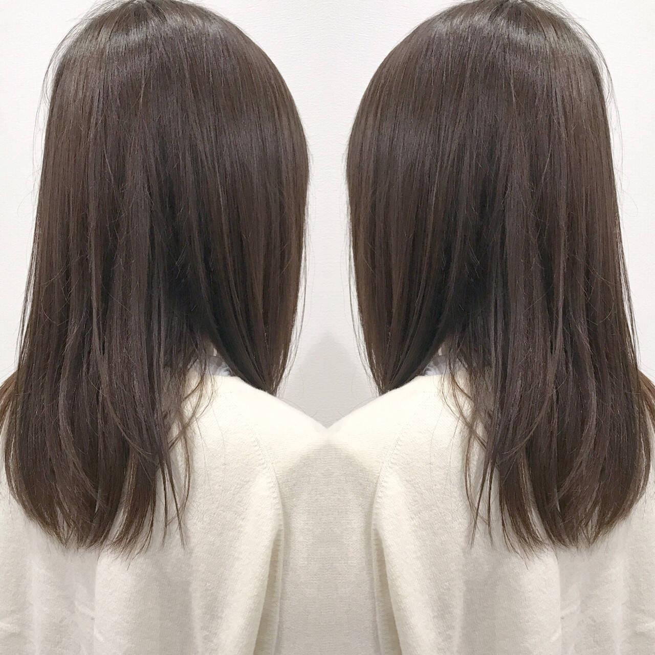 ナチュラル ストレート 暗髪 セミロングヘアスタイルや髪型の写真・画像