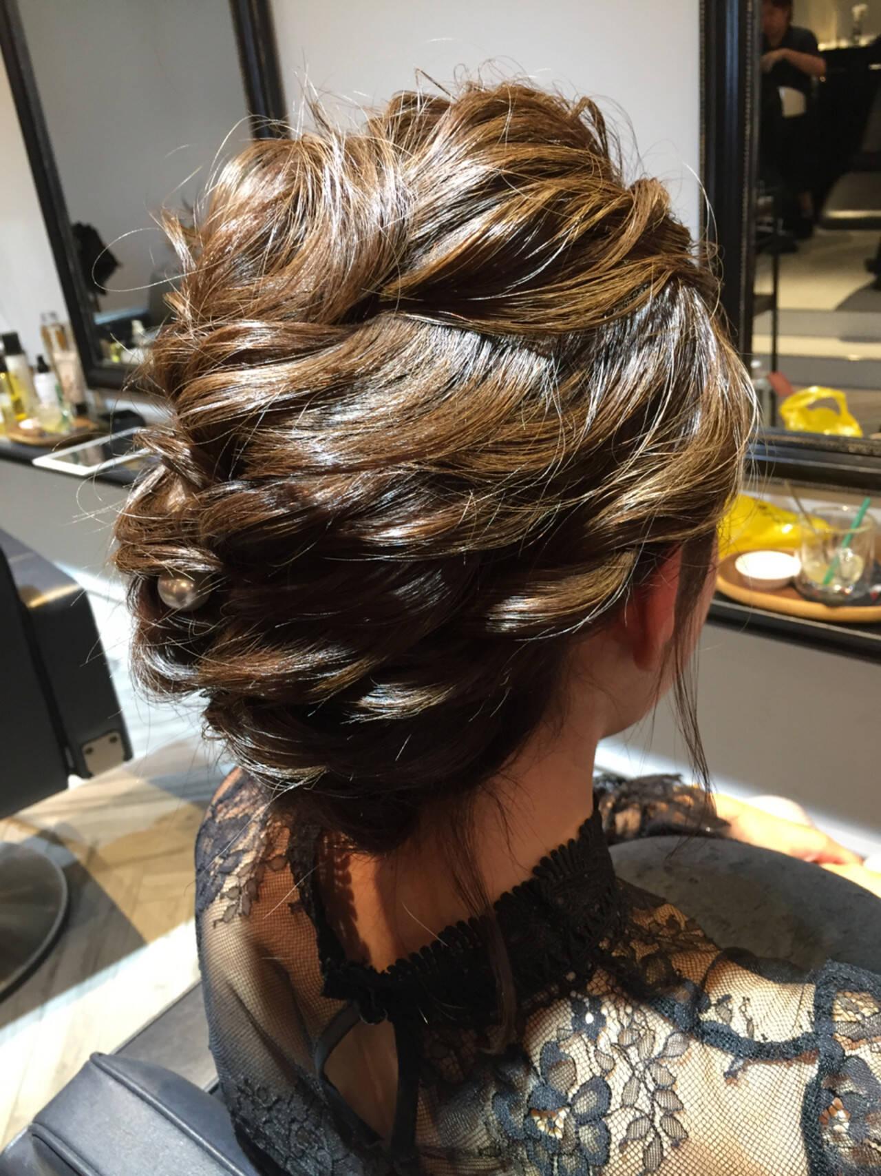 ゆるふわ 上品 セミロング 結婚式ヘアスタイルや髪型の写真・画像