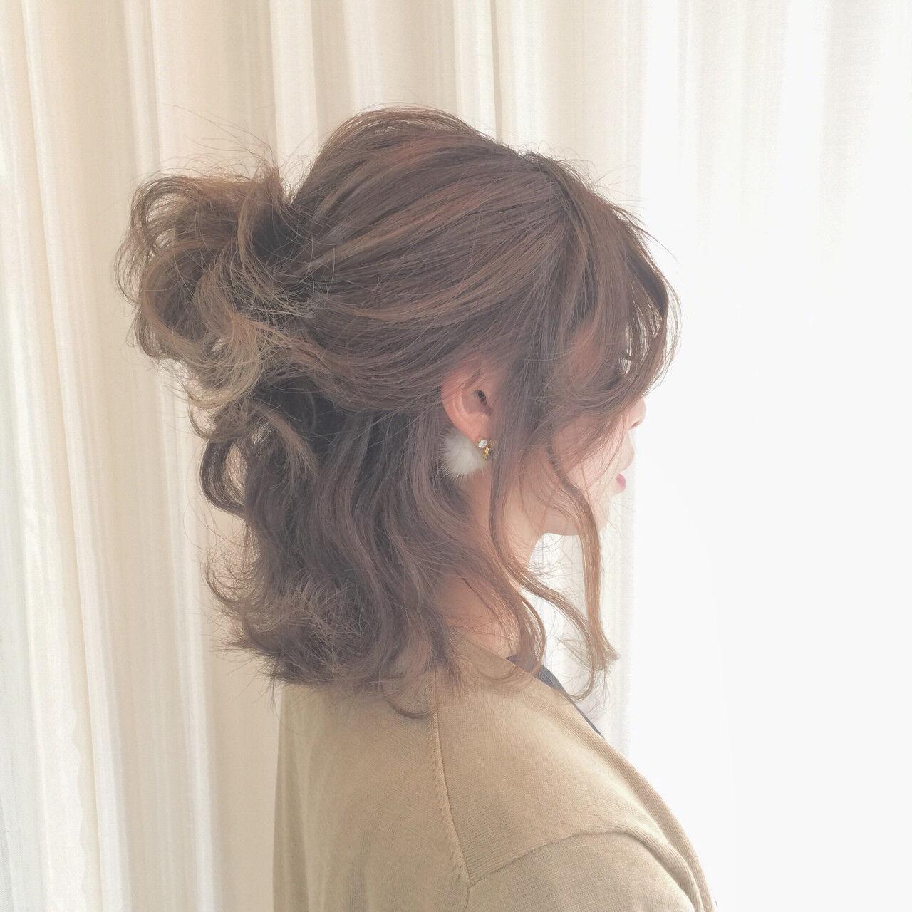 ボブ ヘアアレンジ 波ウェーブ ストリートヘアスタイルや髪型の写真・画像