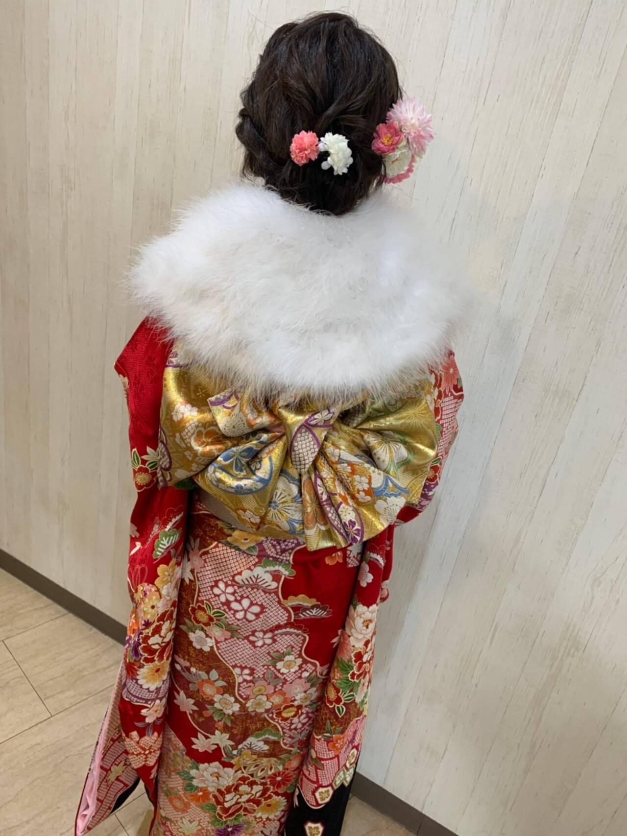 セミロング ヘアアレンジ フェミニン 成人式ヘアヘアスタイルや髪型の写真・画像