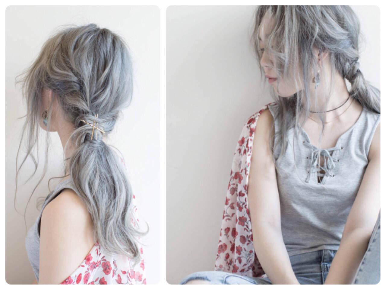 アッシュ ヘアアレンジ 外国人風 簡単ヘアアレンジヘアスタイルや髪型の写真・画像