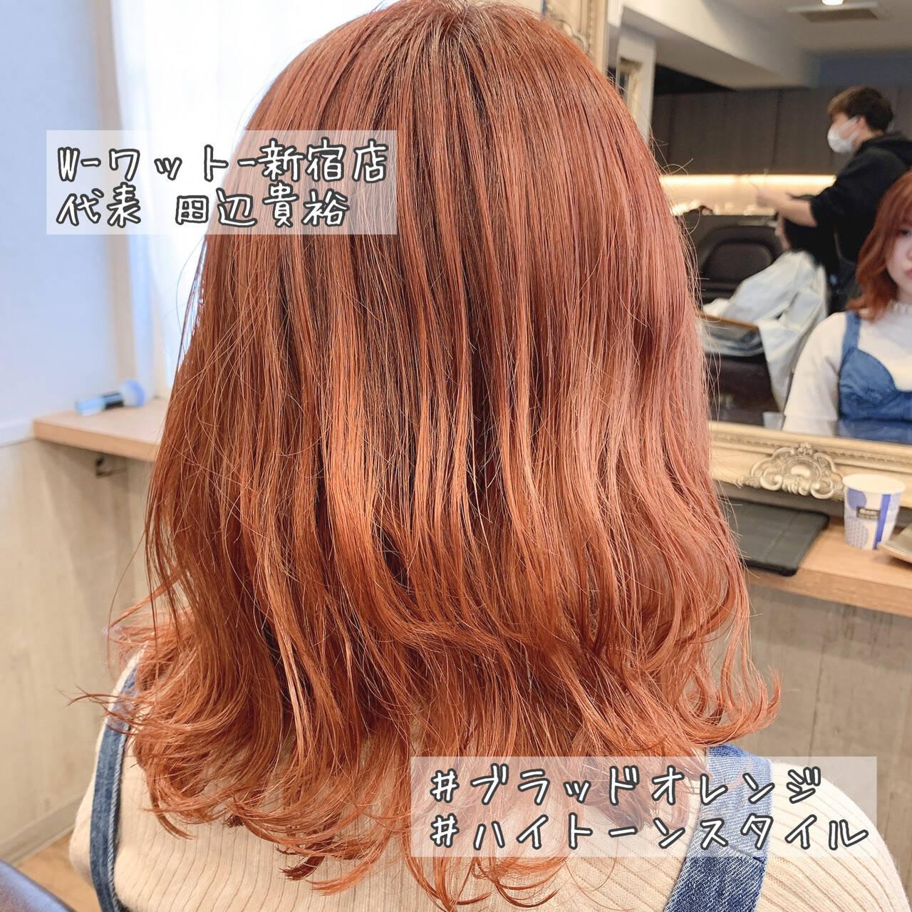 ミディアム ミルクティーベージュ アプリコットオレンジ オレンジベージュヘアスタイルや髪型の写真・画像