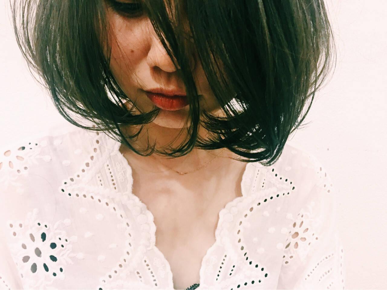 暗髪 色気 透明感 ボブヘアスタイルや髪型の写真・画像