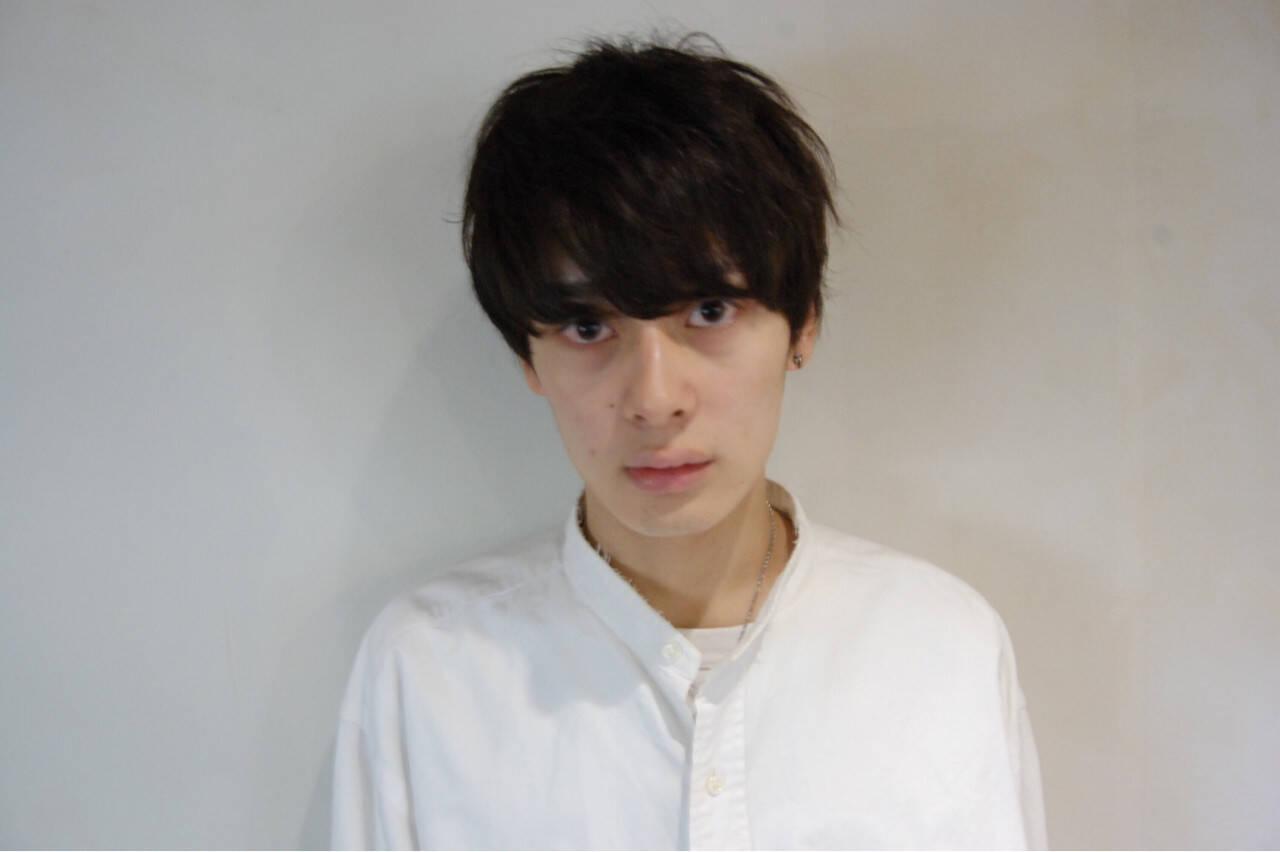 パーマ 黒髪 モード ボーイッシュヘアスタイルや髪型の写真・画像