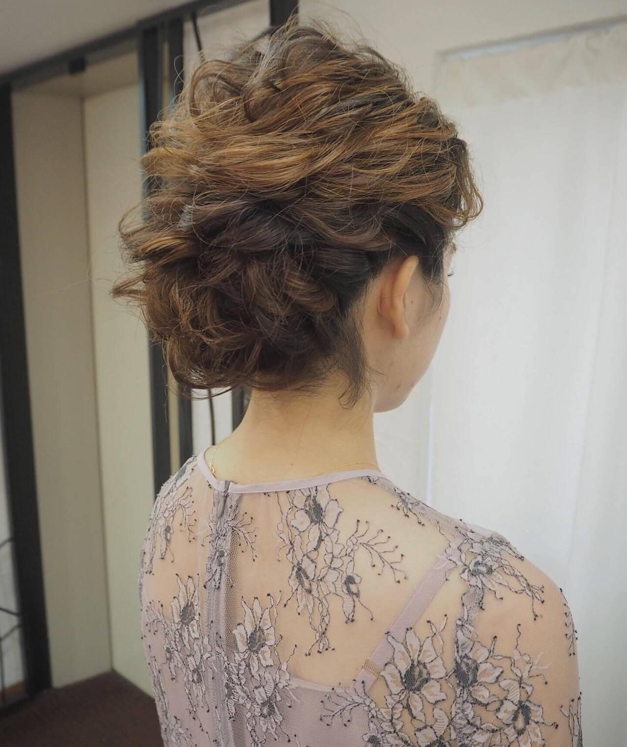 簡単ヘアアレンジ 結婚式 ミディアム 結婚式ヘアアレンジヘアスタイルや髪型の写真・画像