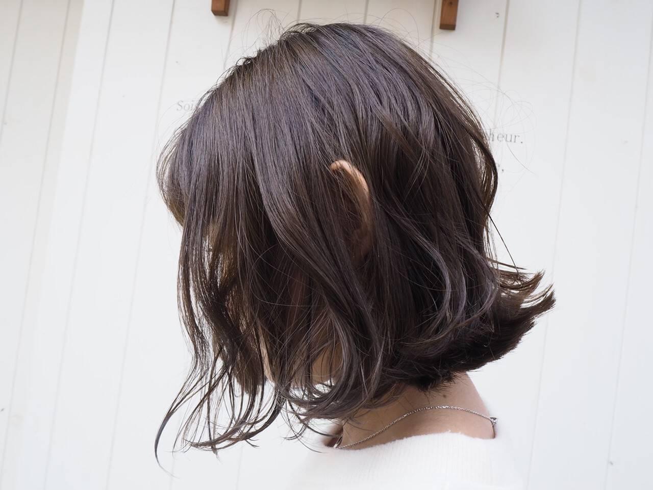 濡れ感 ゆるナチュラル フェミニン ボブヘアスタイルや髪型の写真・画像