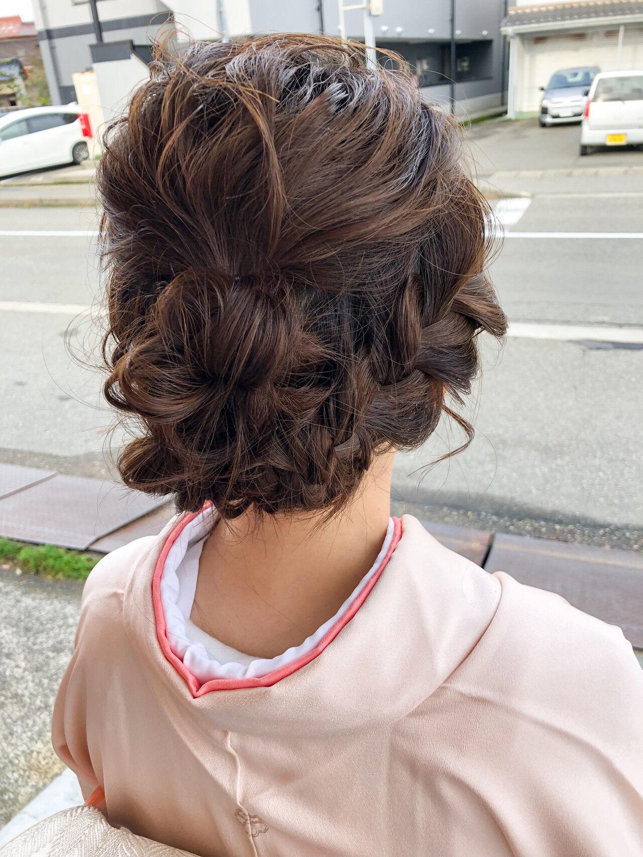 ミディアム デート フェミニン 結婚式ヘアスタイルや髪型の写真・画像
