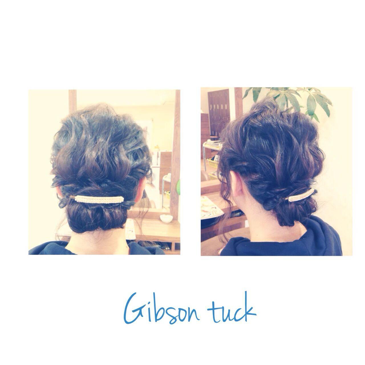 ヘアアレンジ ロング ボブ ギブソンタックヘアスタイルや髪型の写真・画像