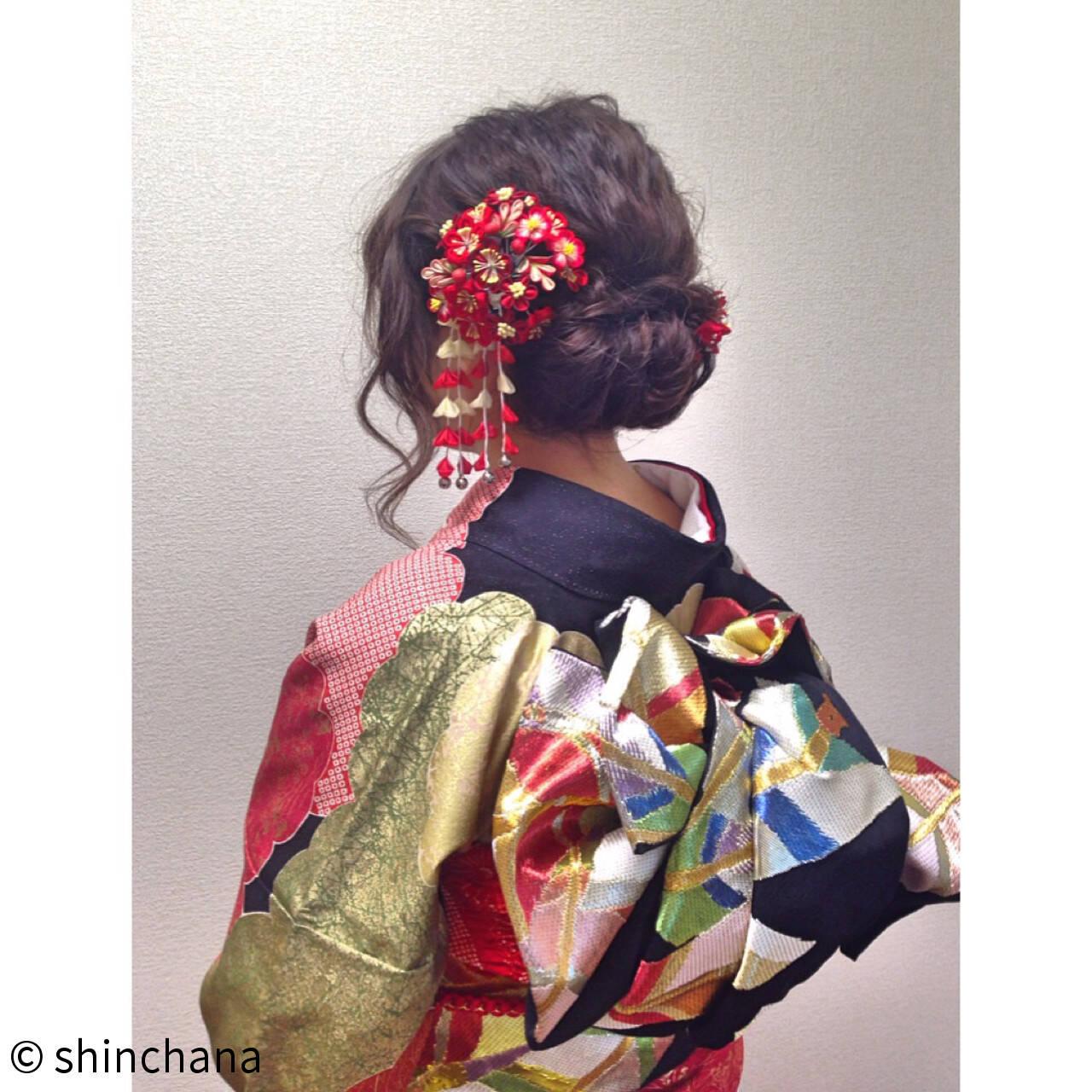 ミディアム ヘアアレンジ ゆるふわ 成人式ヘアスタイルや髪型の写真・画像