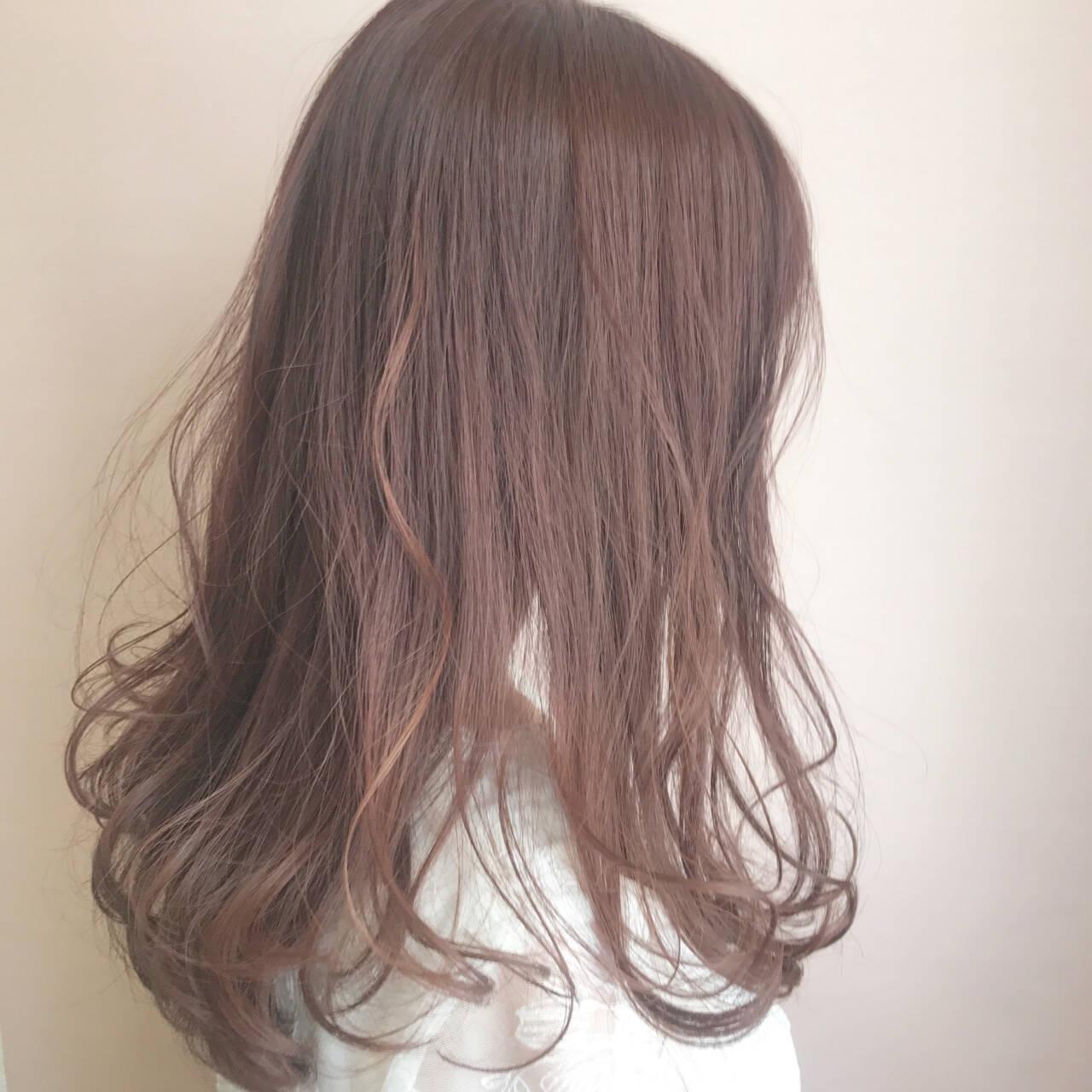 ラベンダー 透明感 ナチュラル ピンクヘアスタイルや髪型の写真・画像