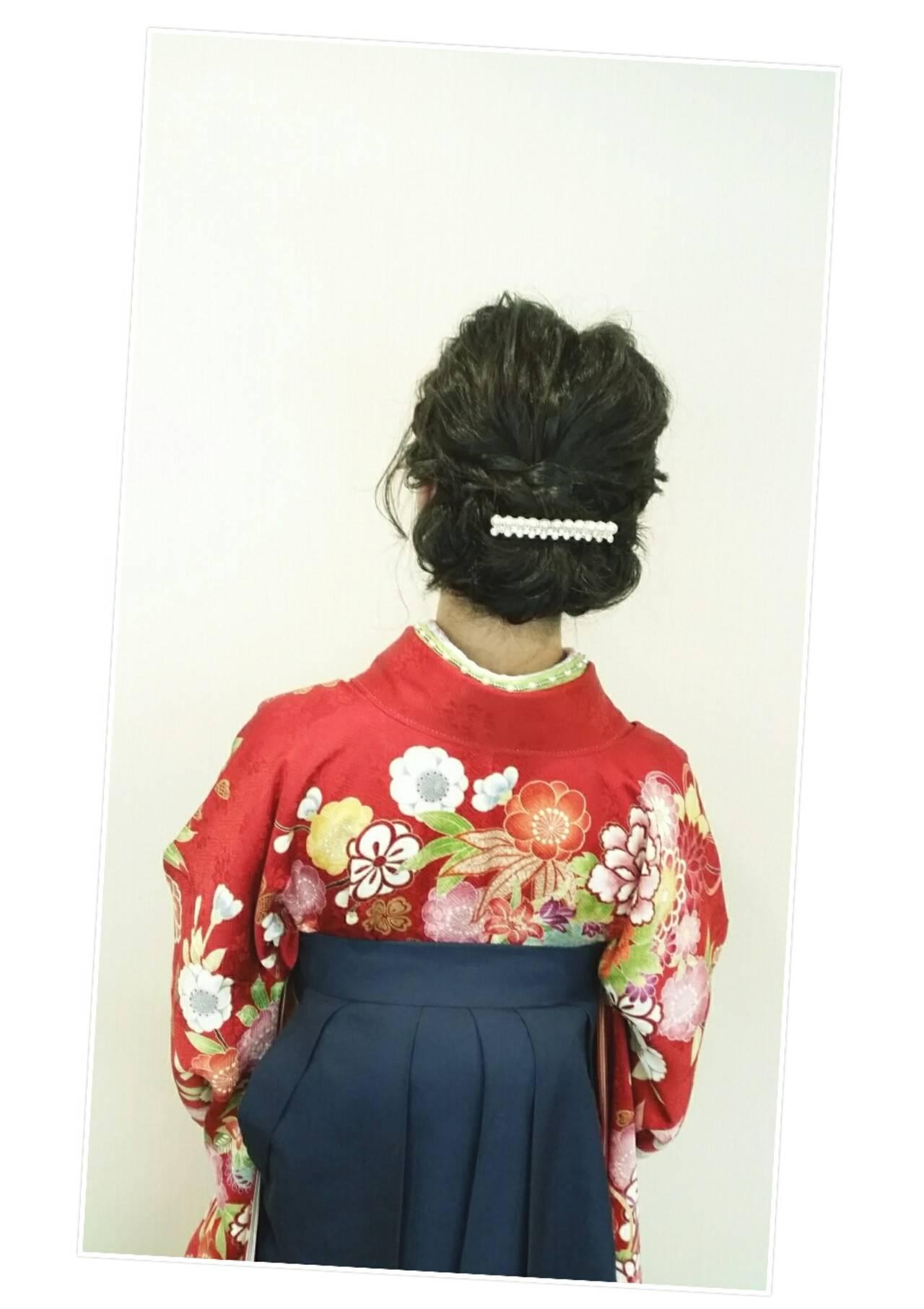 学校 ミディアム 謝恩会 袴ヘアスタイルや髪型の写真・画像