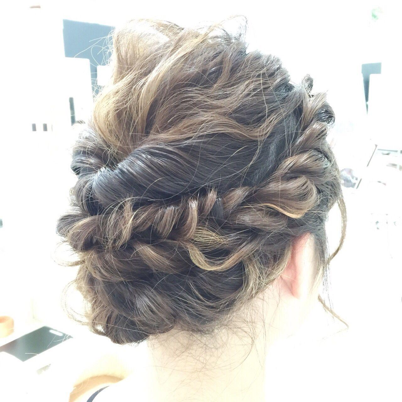 波ウェーブ 編み込み くるりんぱ 春ヘアスタイルや髪型の写真・画像