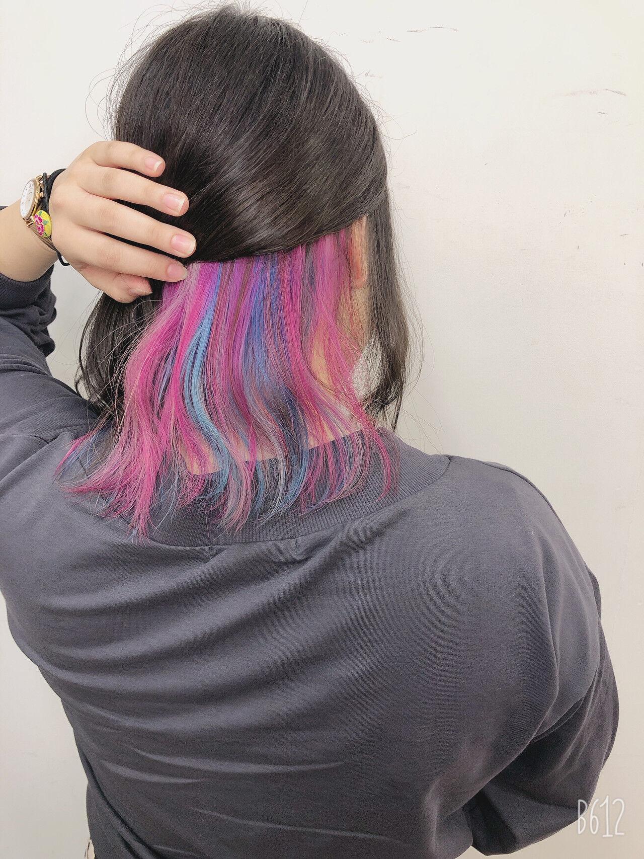ボブ ナチュラル ダブルカラー 外国人風カラーヘアスタイルや髪型の写真・画像