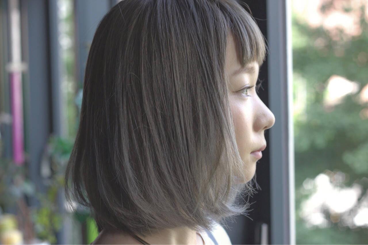 オン眉 前髪あり ストリート ボブヘアスタイルや髪型の写真・画像