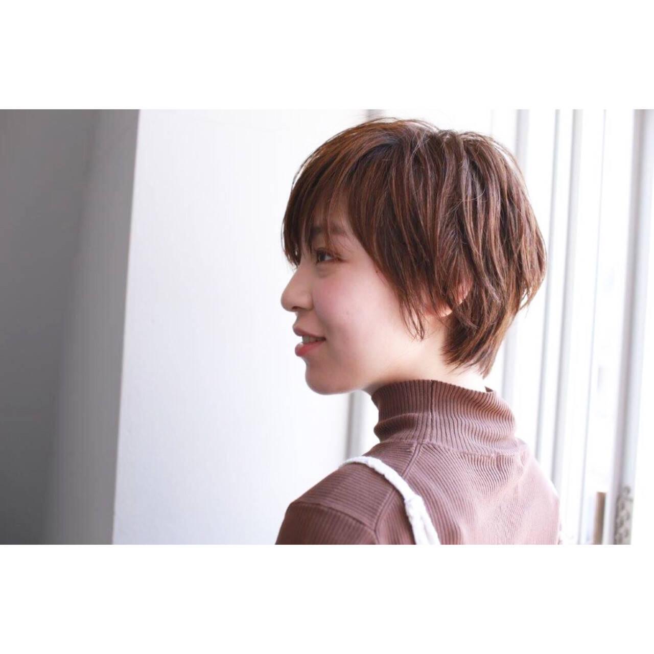 かっこいい ショート レザーカット ショートボブヘアスタイルや髪型の写真・画像