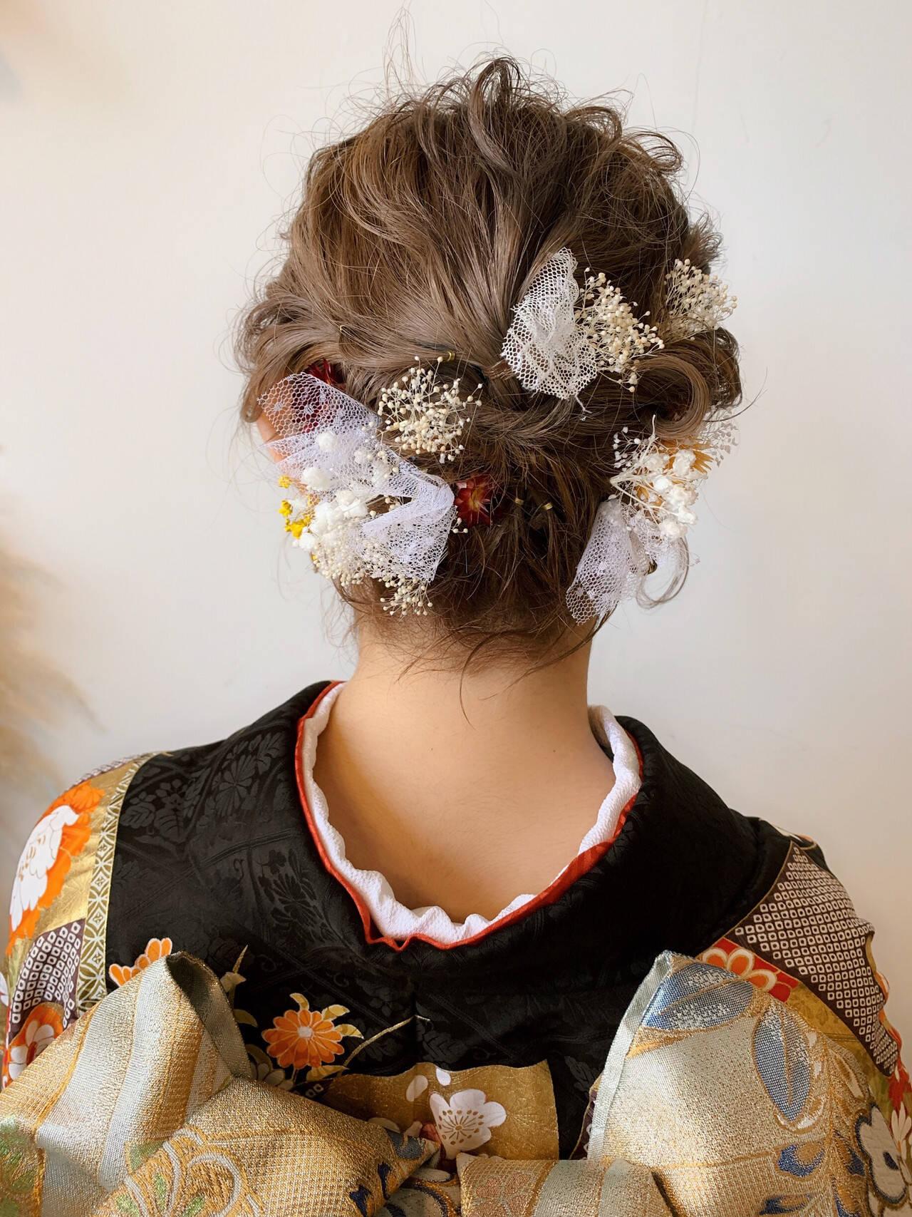 エレガント 成人式 簡単ヘアアレンジ ボブヘアスタイルや髪型の写真・画像
