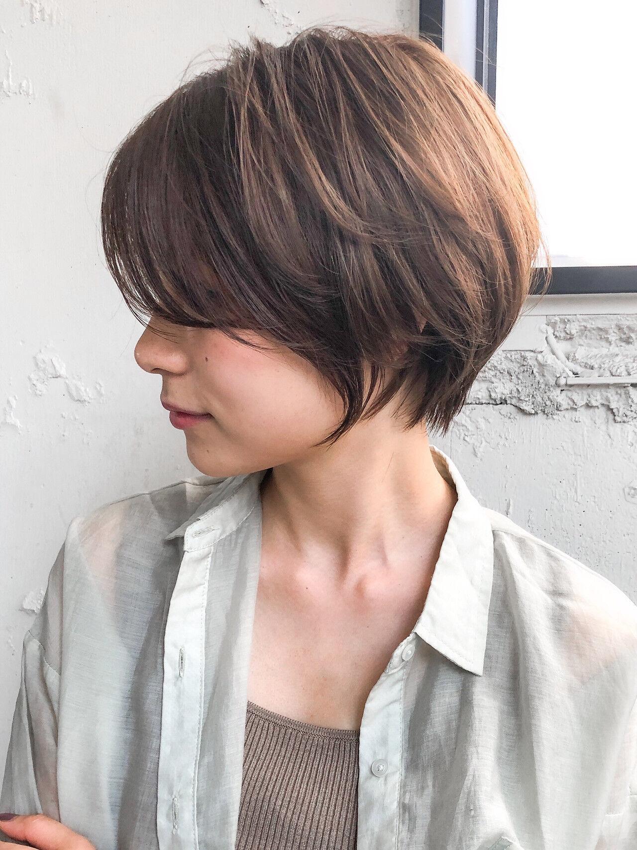 ショート ナチュラル ショートボブ ハンサムショートヘアスタイルや髪型の写真・画像