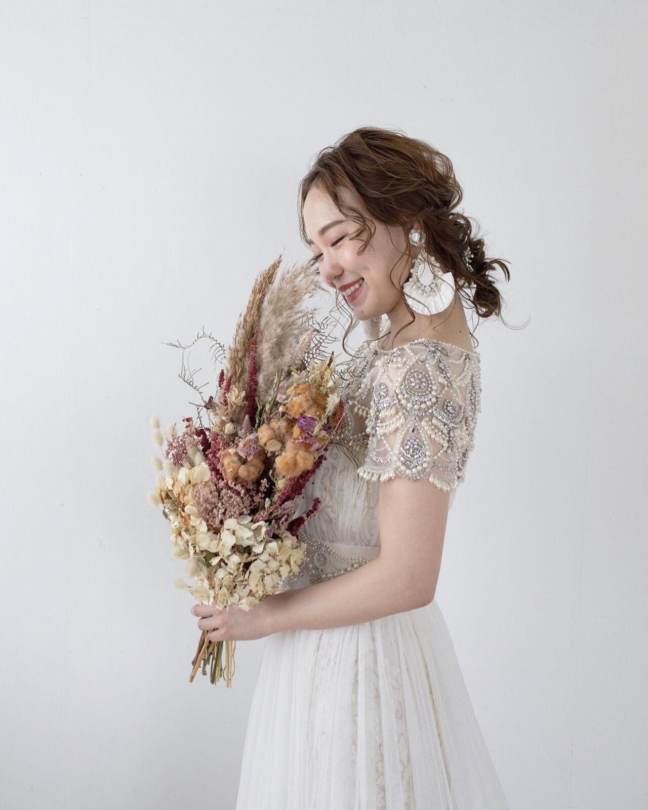 ヘアセット 結婚式ヘアアレンジ ヘアアレンジ セミロングヘアスタイルや髪型の写真・画像