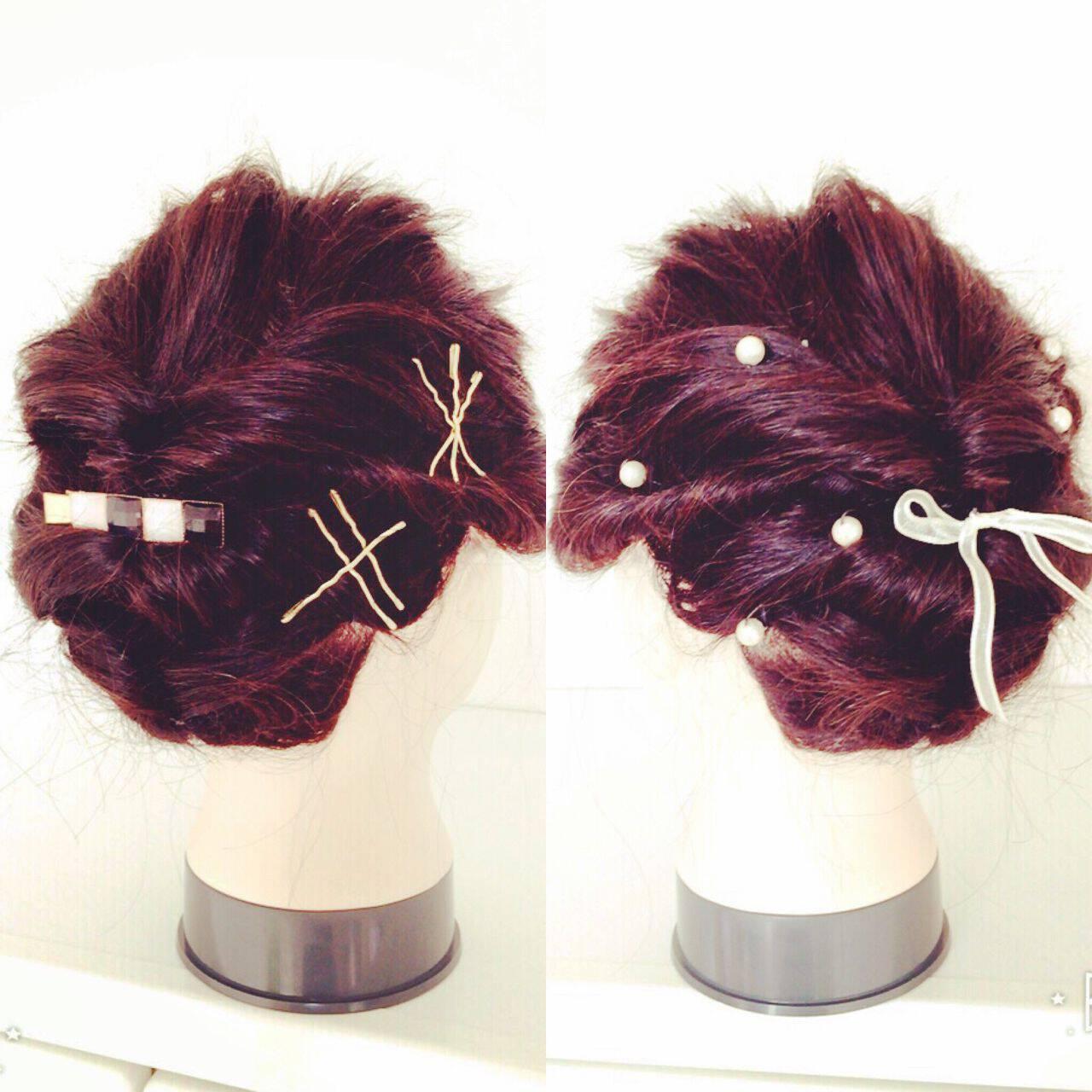 ショート 簡単ヘアアレンジ アップスタイル ミディアムヘアスタイルや髪型の写真・画像