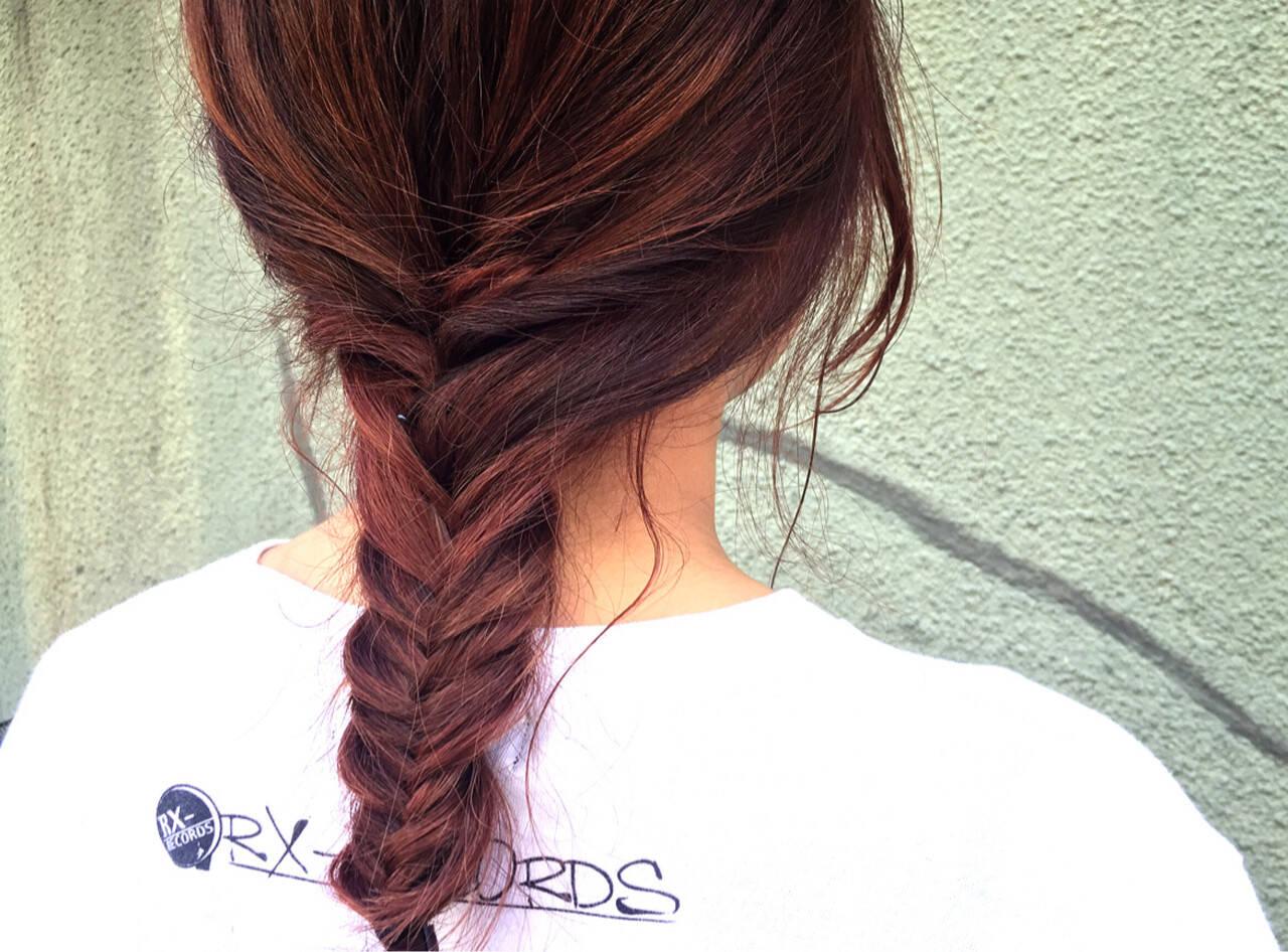 ヘアアレンジ ショート ピンク ストリートヘアスタイルや髪型の写真・画像