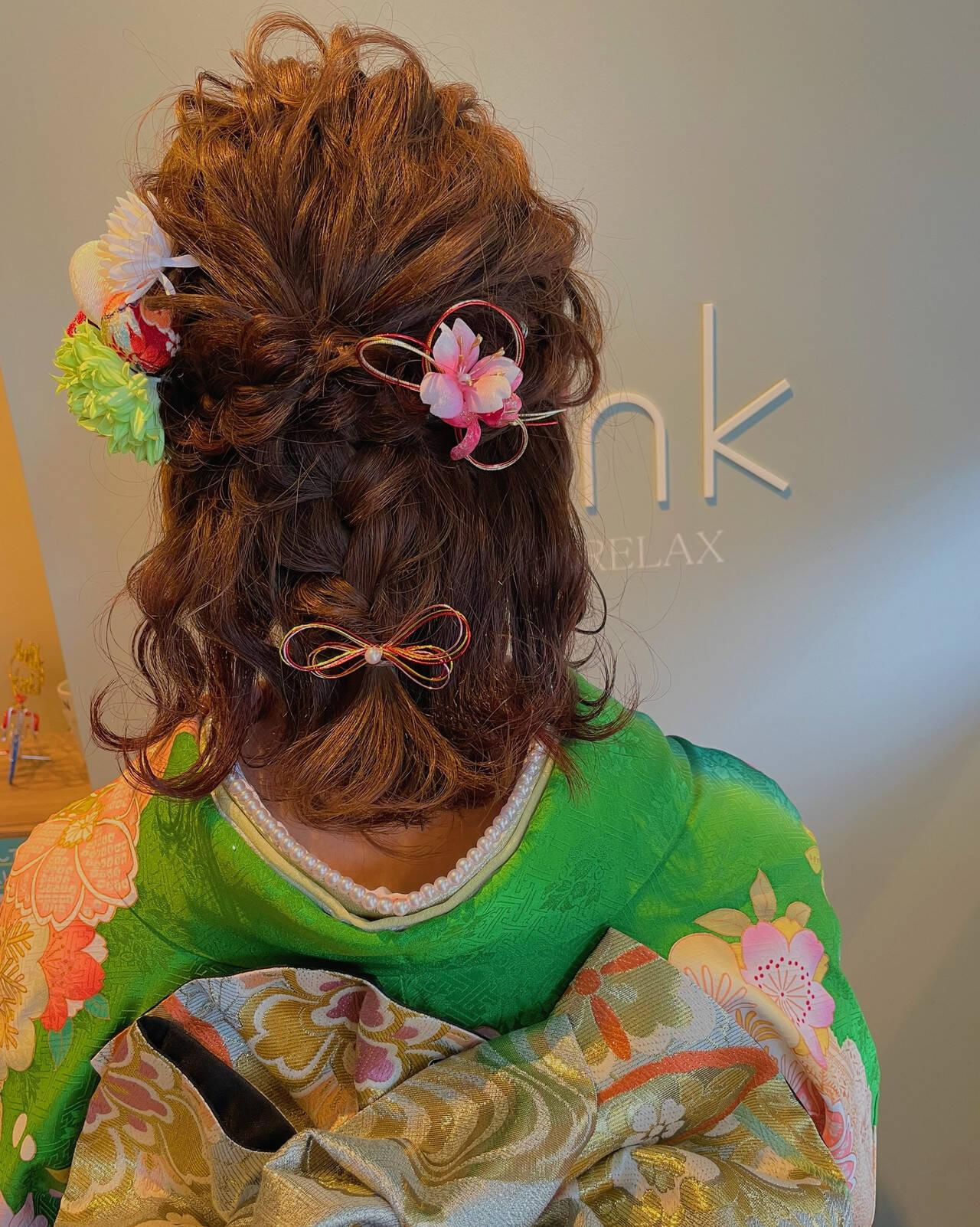 成人式ヘアメイク着付け ガーリー ヘアアレンジ 成人式ヘアヘアスタイルや髪型の写真・画像