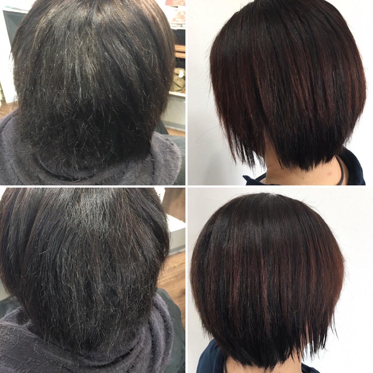 切りっぱなしボブ ミニボブ モード ベリーショートヘアスタイルや髪型の写真・画像